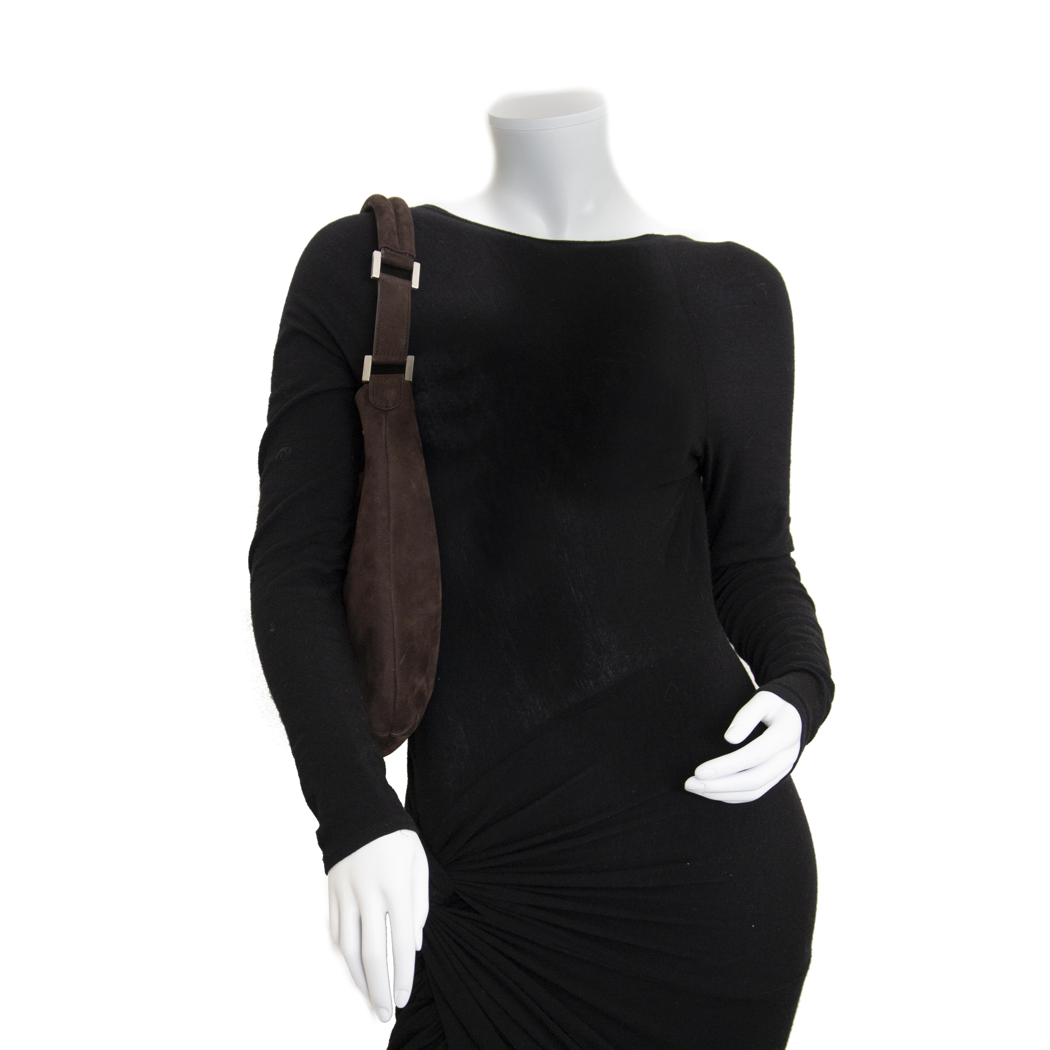 Delvaux Brown Nubuck Louise Shoulder Bag now for sale at labellov vintage fashion webshop belgium