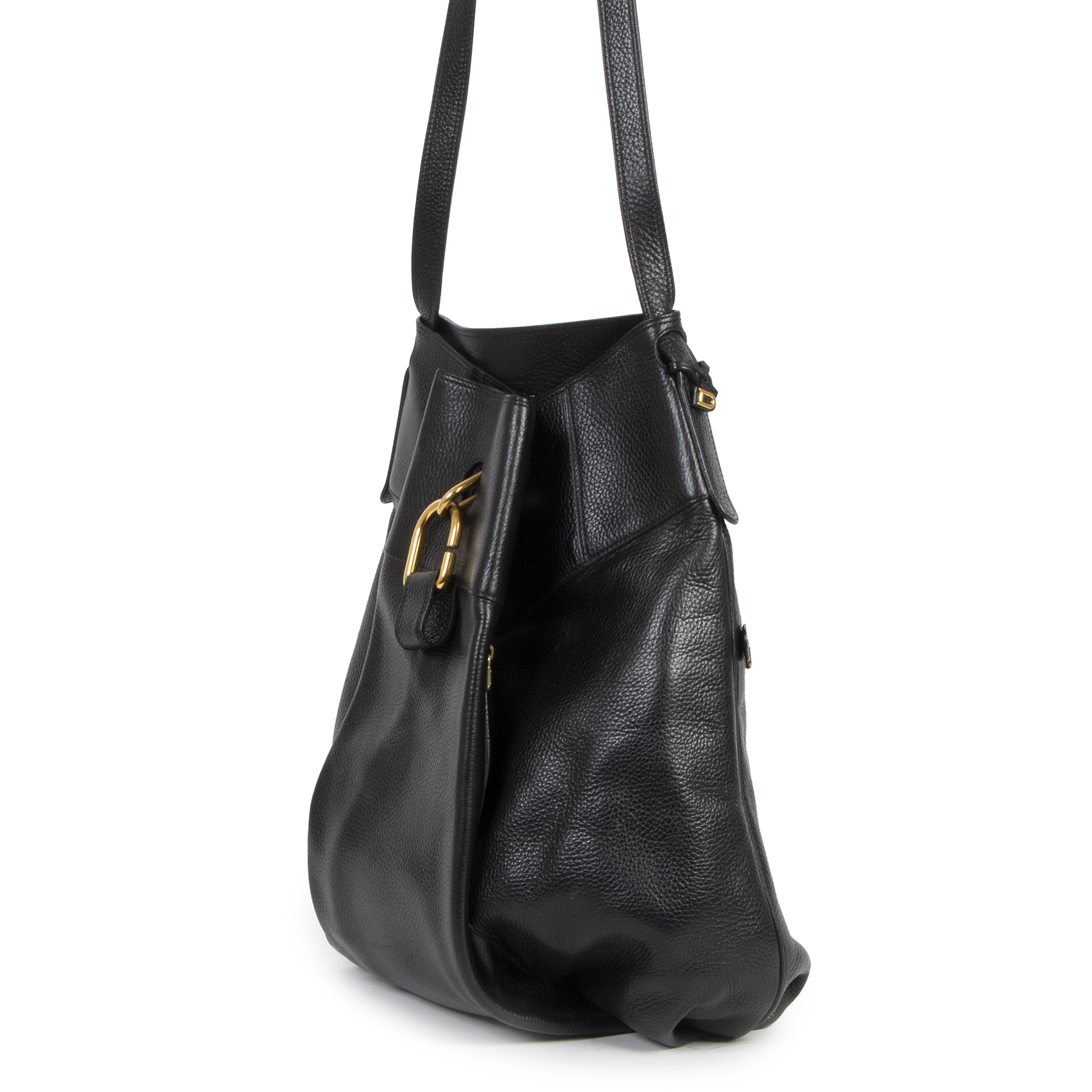 Authentic second-hand vintage Delvaux Black Faust Shoulder Bag buy online webshop LabelLOV