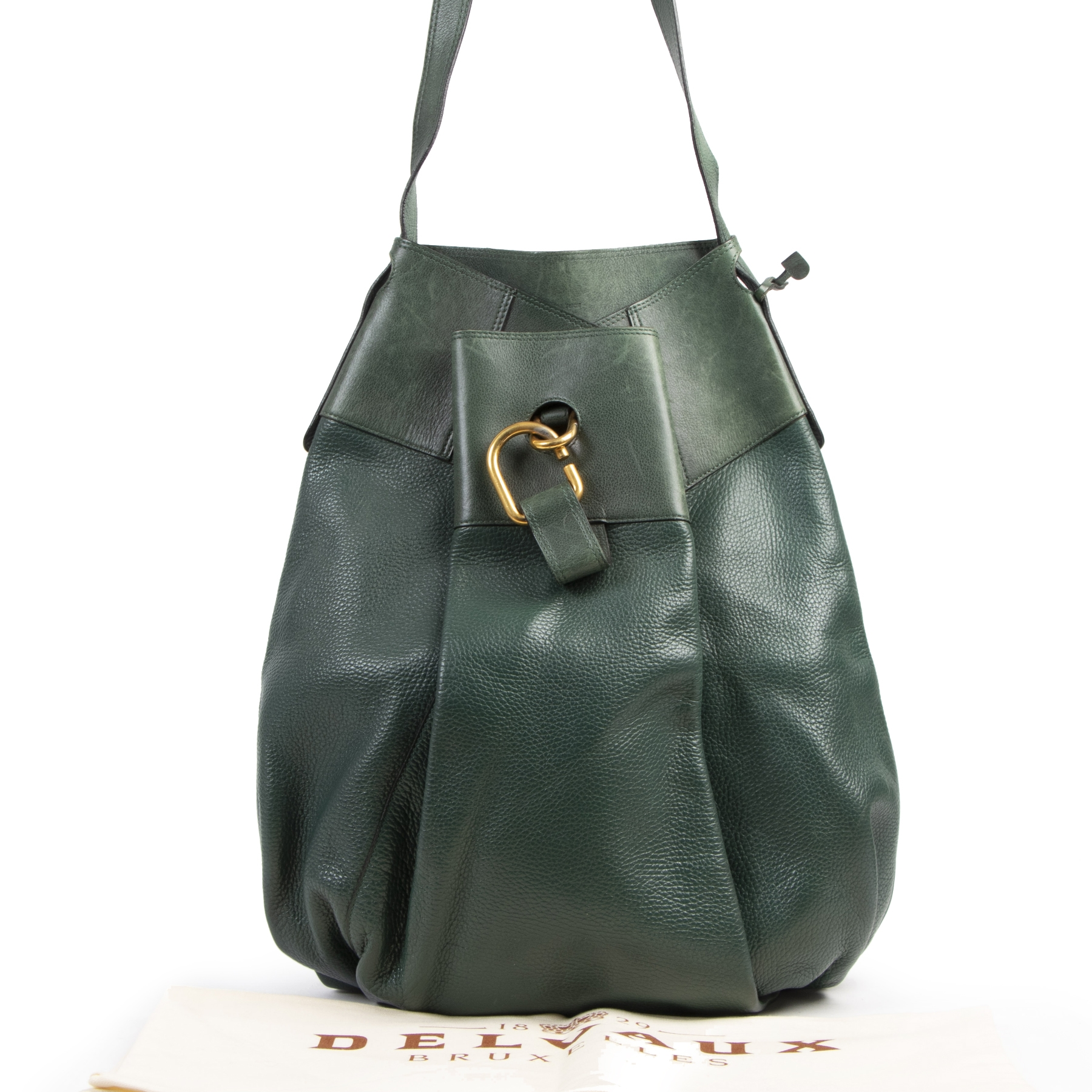 Authentieke tweedehands vintage Delvaux Green Faust Shoulder Bag koop online webshop LabelLOV