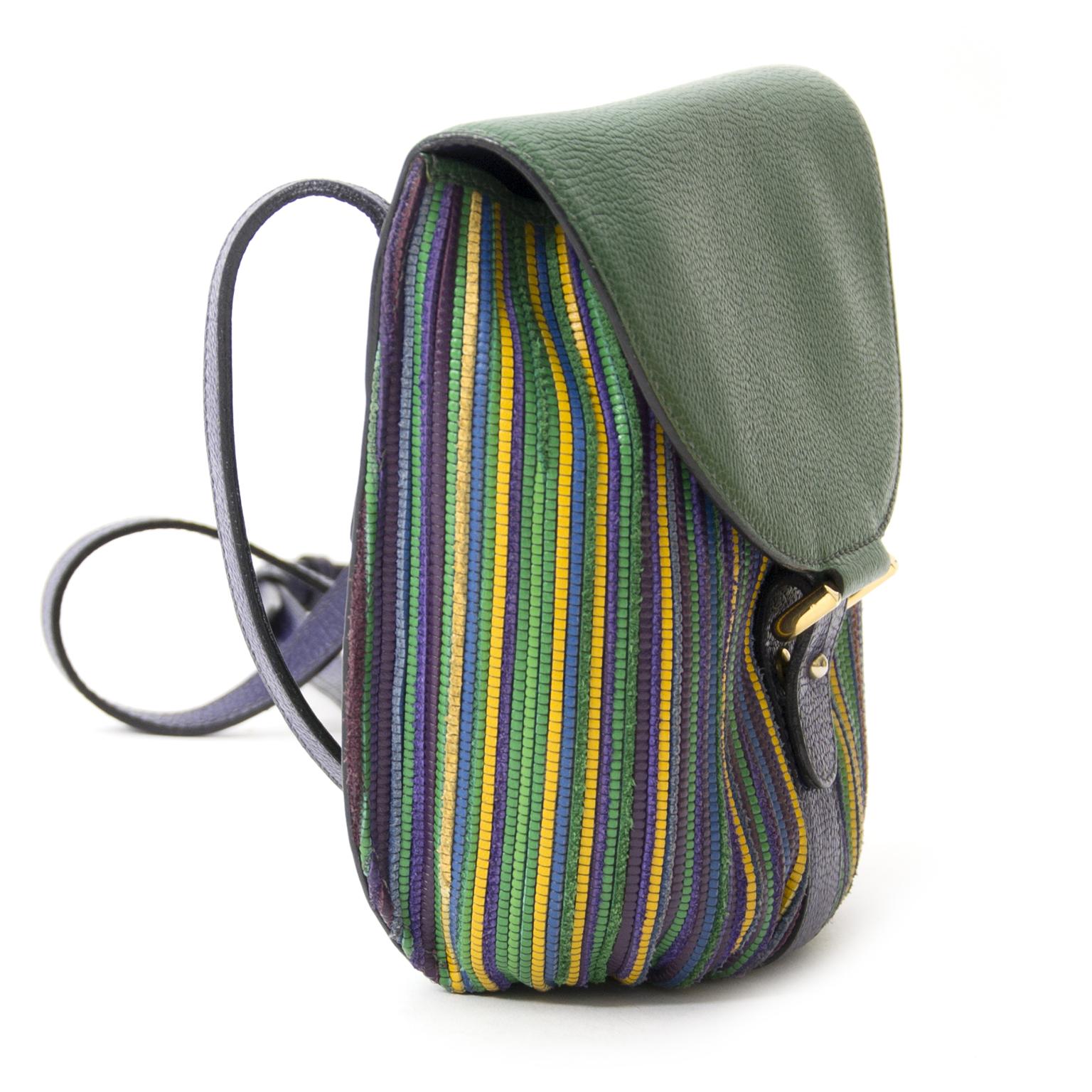 buy safe online secondhand designer Delvaux Toile de Cuir Green Crossbody Pouch