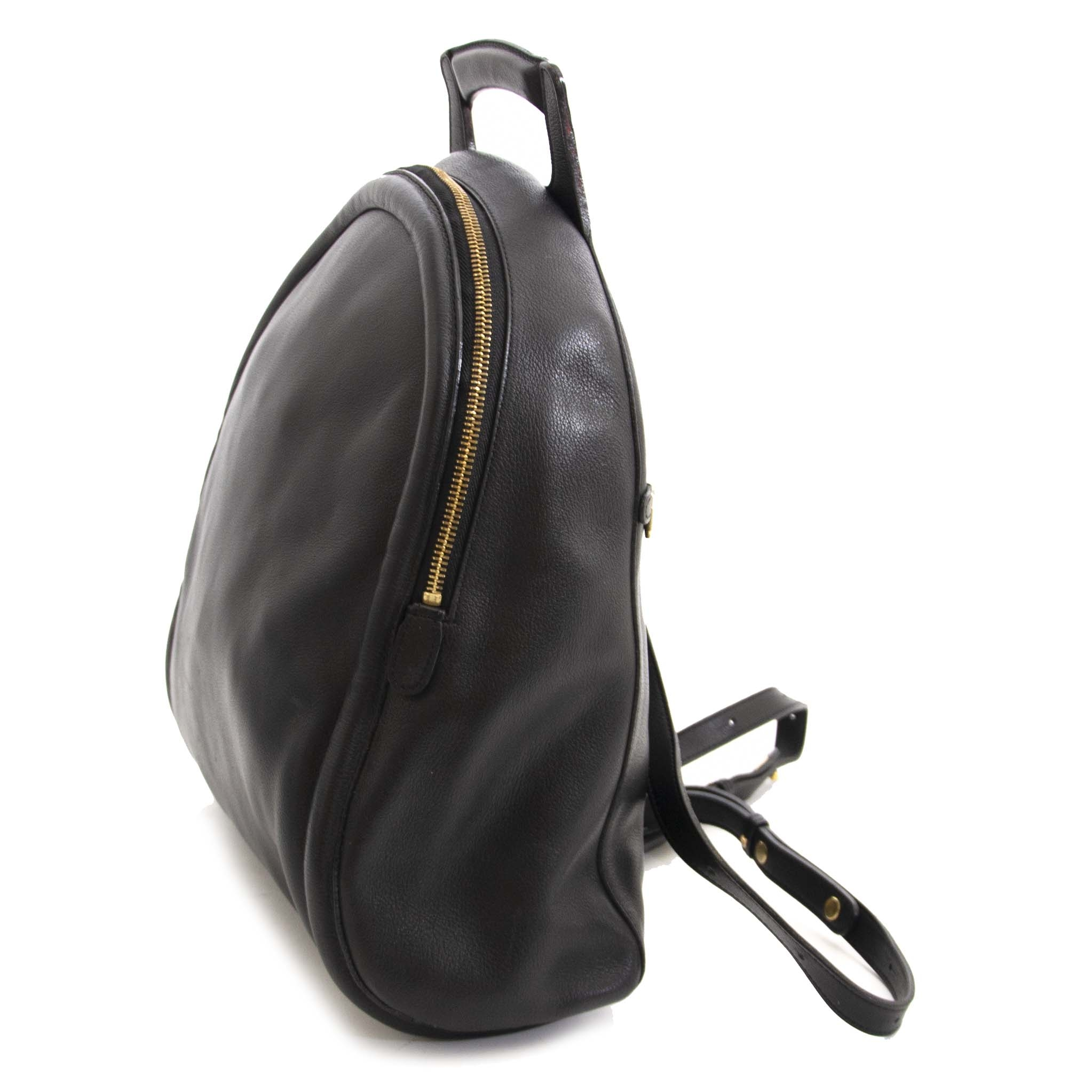 Authentic second hand vintage Delvaux Black Leather Backpack at online webshop LabelLOV