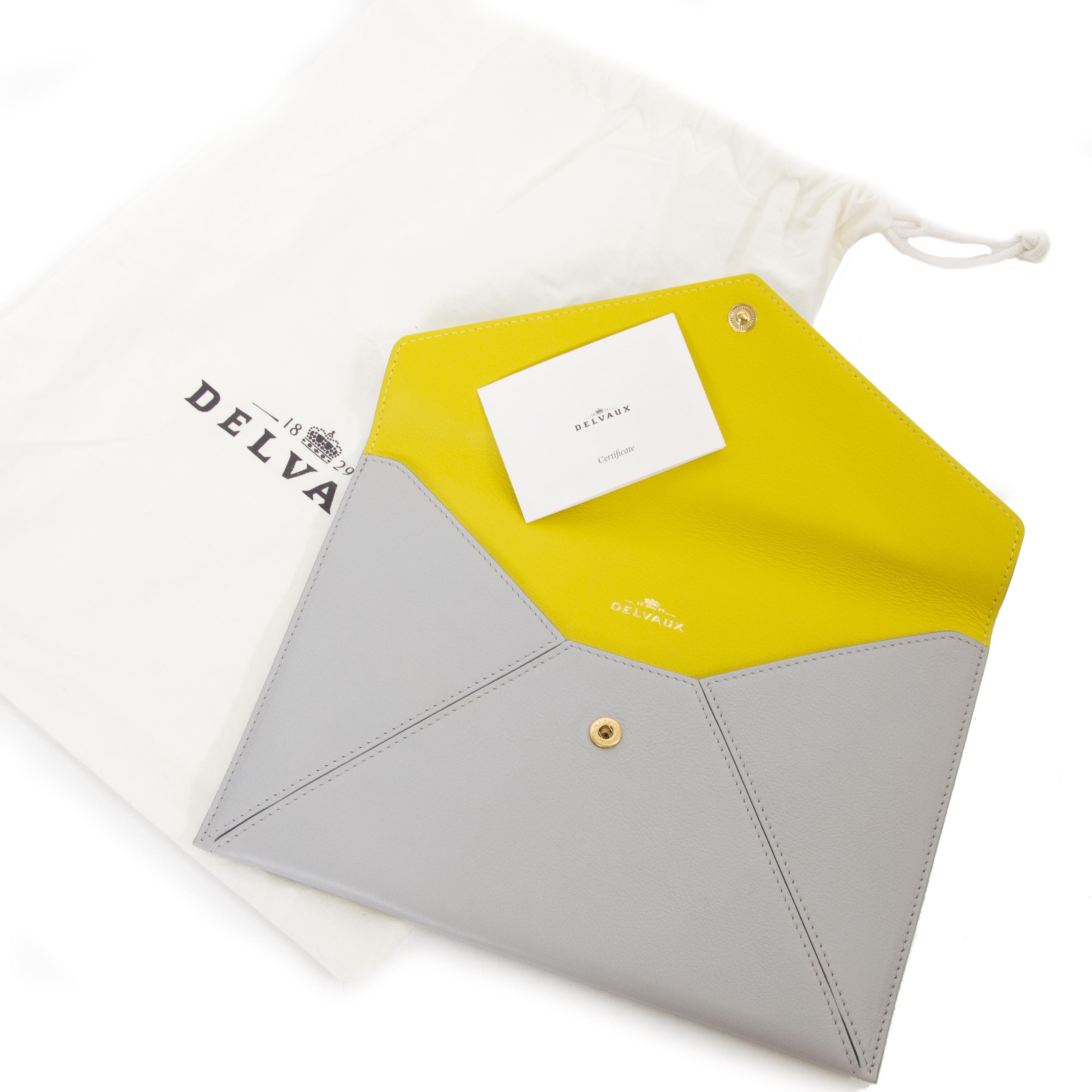 buy Delvaux Light Grey Message Clutch at labellov for the best price