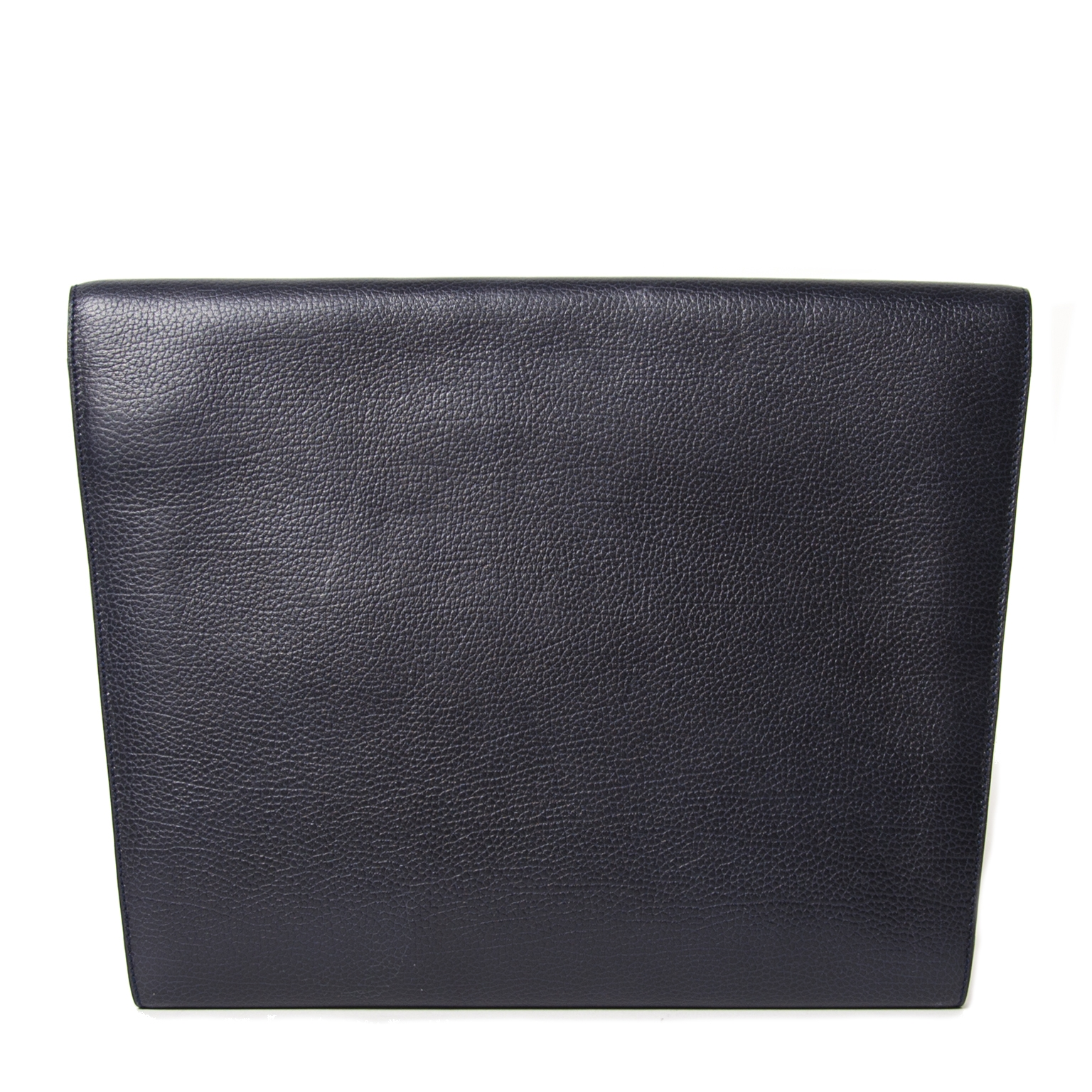 Delvaux Blue Pebbled Leather A4 Clutch te koop