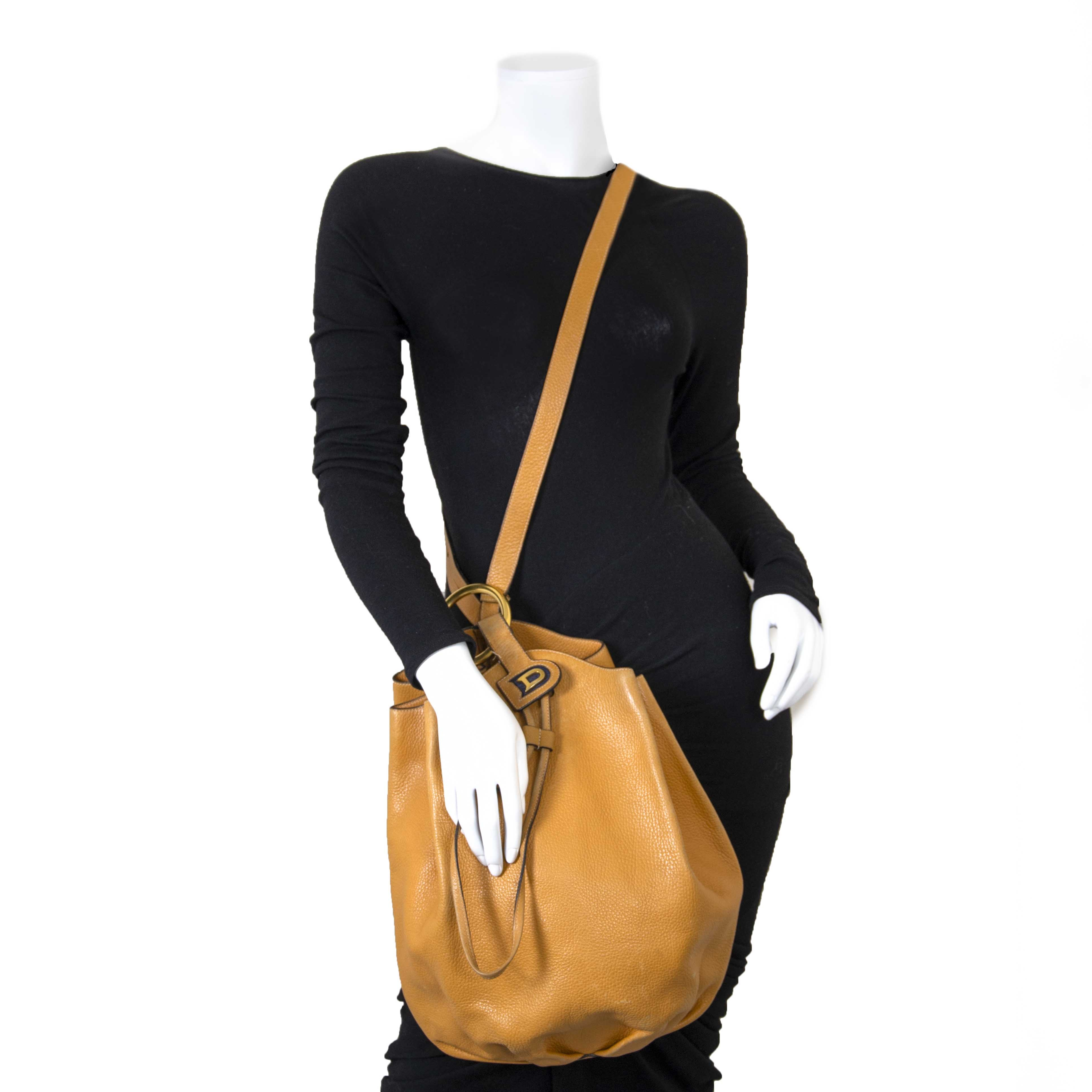 Delvaux Mustard Yellow Bucket Bag now for sale at labellov vintage fashion webshop belgium