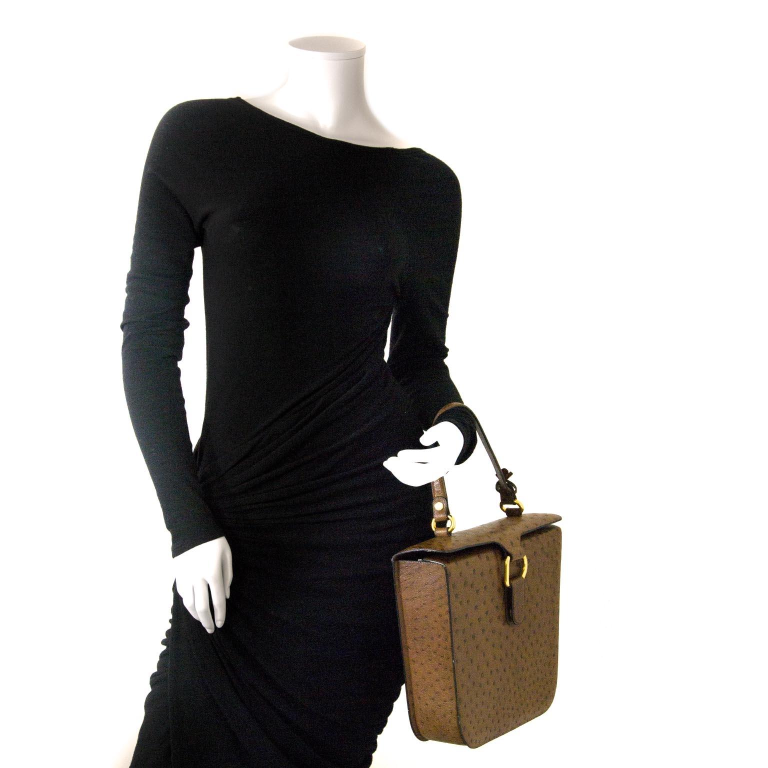 100% authentique  Delvaux Brown Ostrich Top Handle Bag