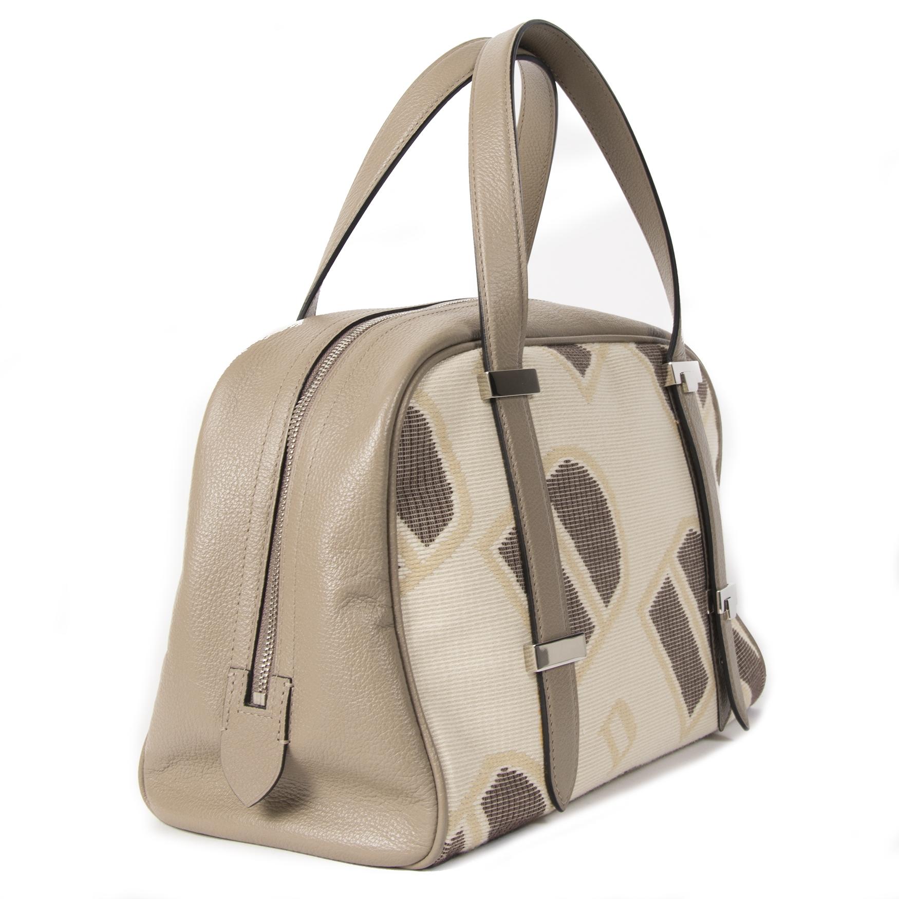Authentieke tweedehands Delvaux Printed Bowling Bag juiste prijs veilig online winkelen LabelLOV webshop luxe merken winkelen Antwerpen België mode fashion