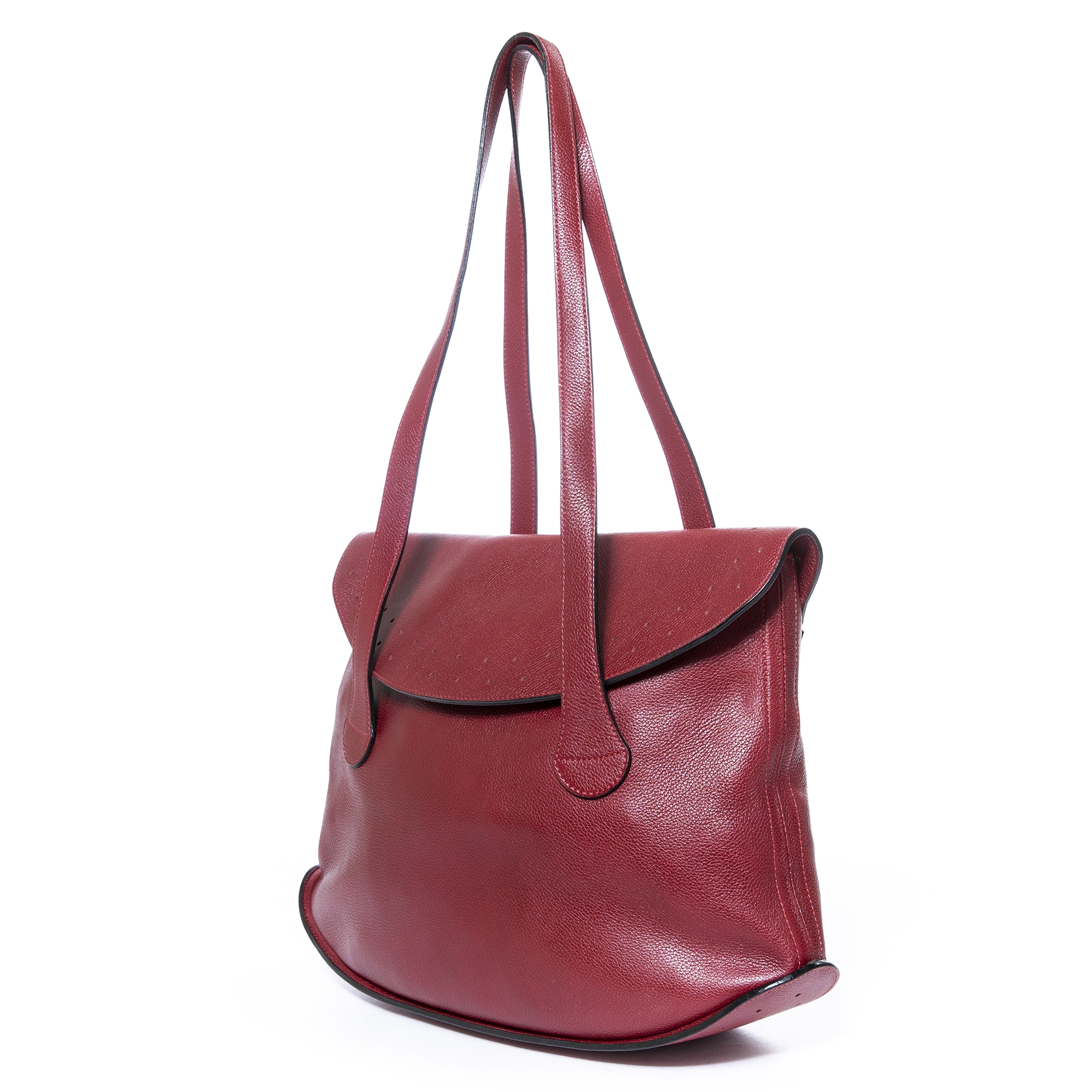 Delvaux Red Leather Shopper for sale