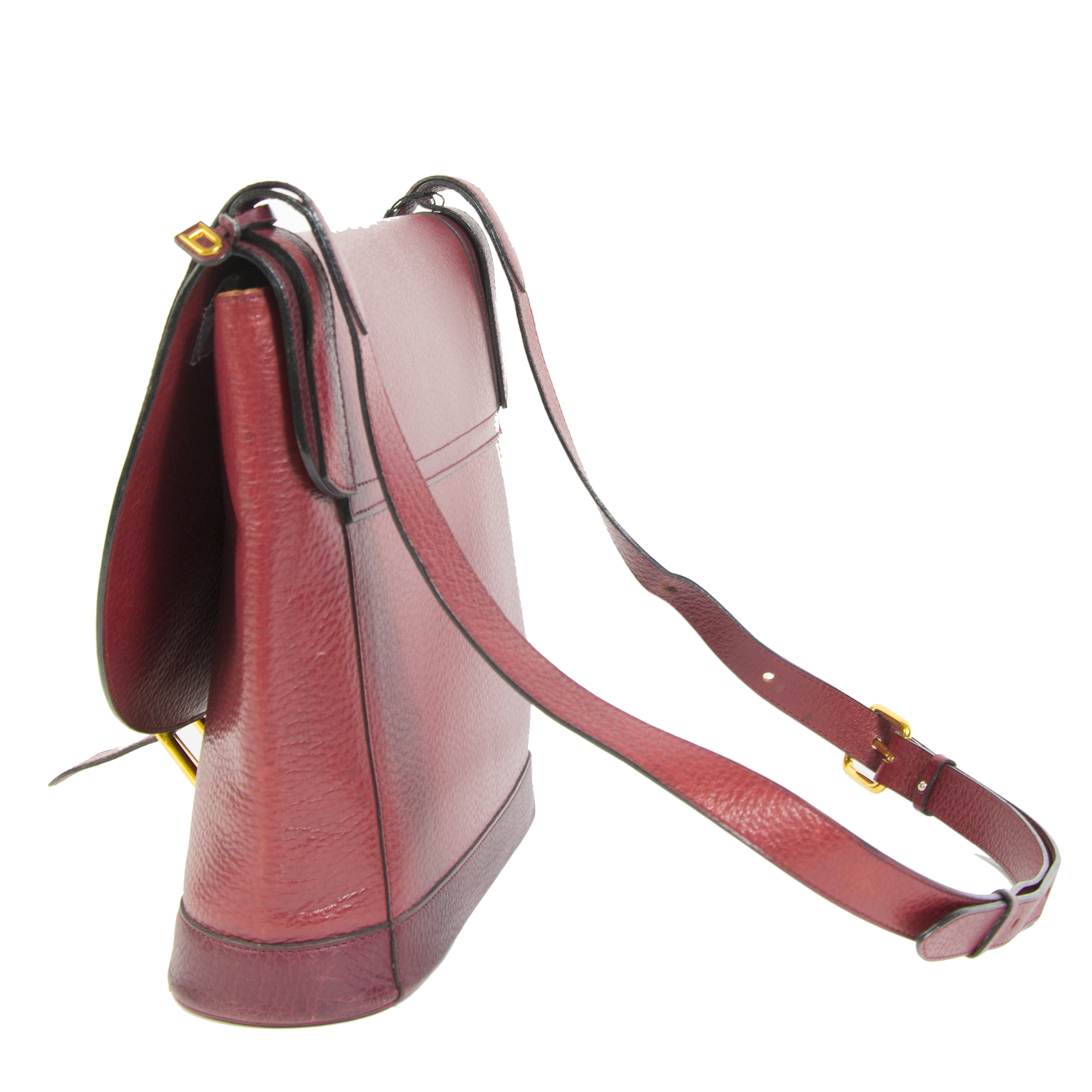 Delvaux Red Burgundy Leather Crossbody Bag we buy and sell your authentic bags