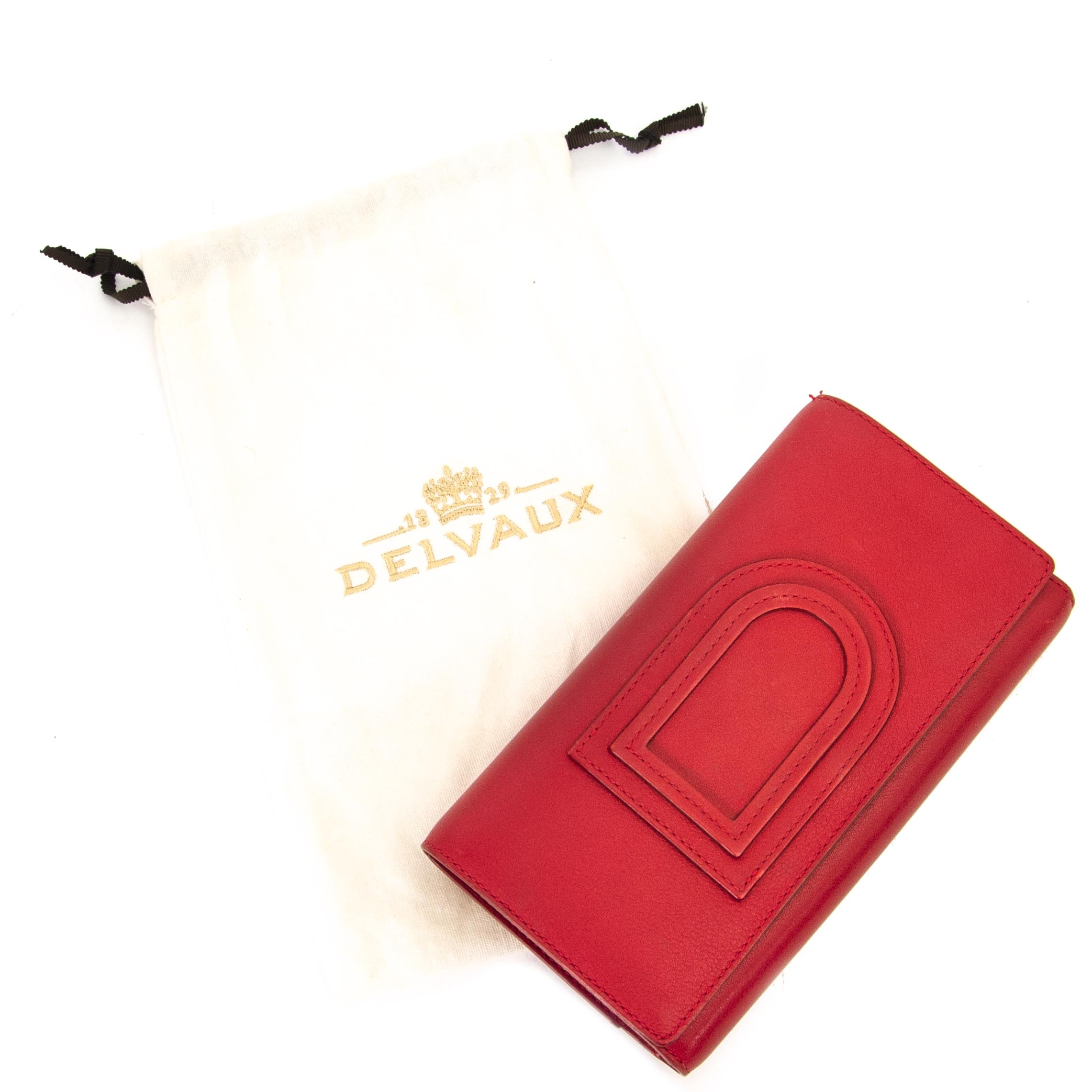 Delvaux Lipstck Red Trifold Wallet for sale online at Labellov secondhand luxury