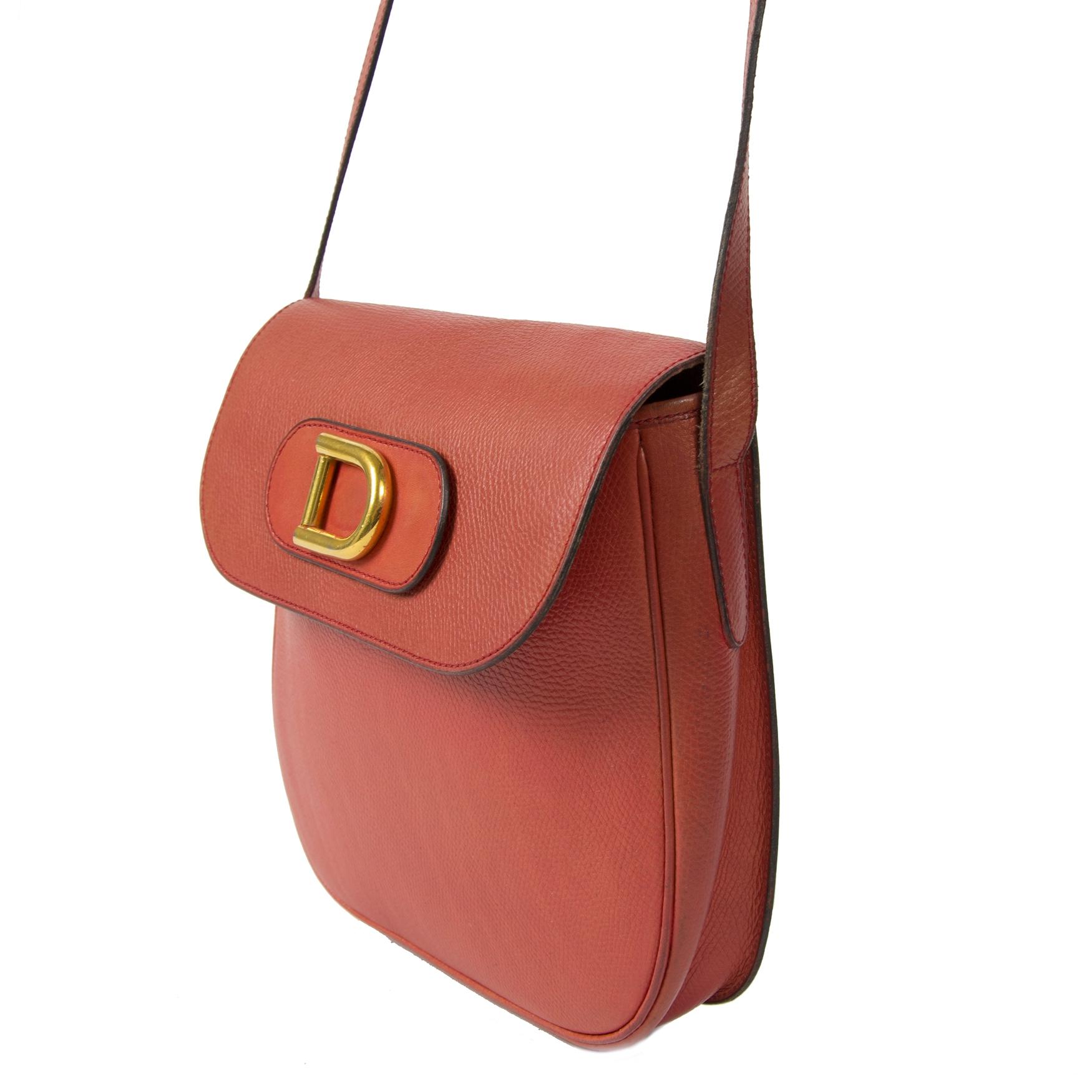 Authentieke tweedehands Delvaux Red Orange Crossbody Bag juiste prijs veilig online winkelen LabelLOV webshop luxe merken winkelen Antwerpen België mode fashion
