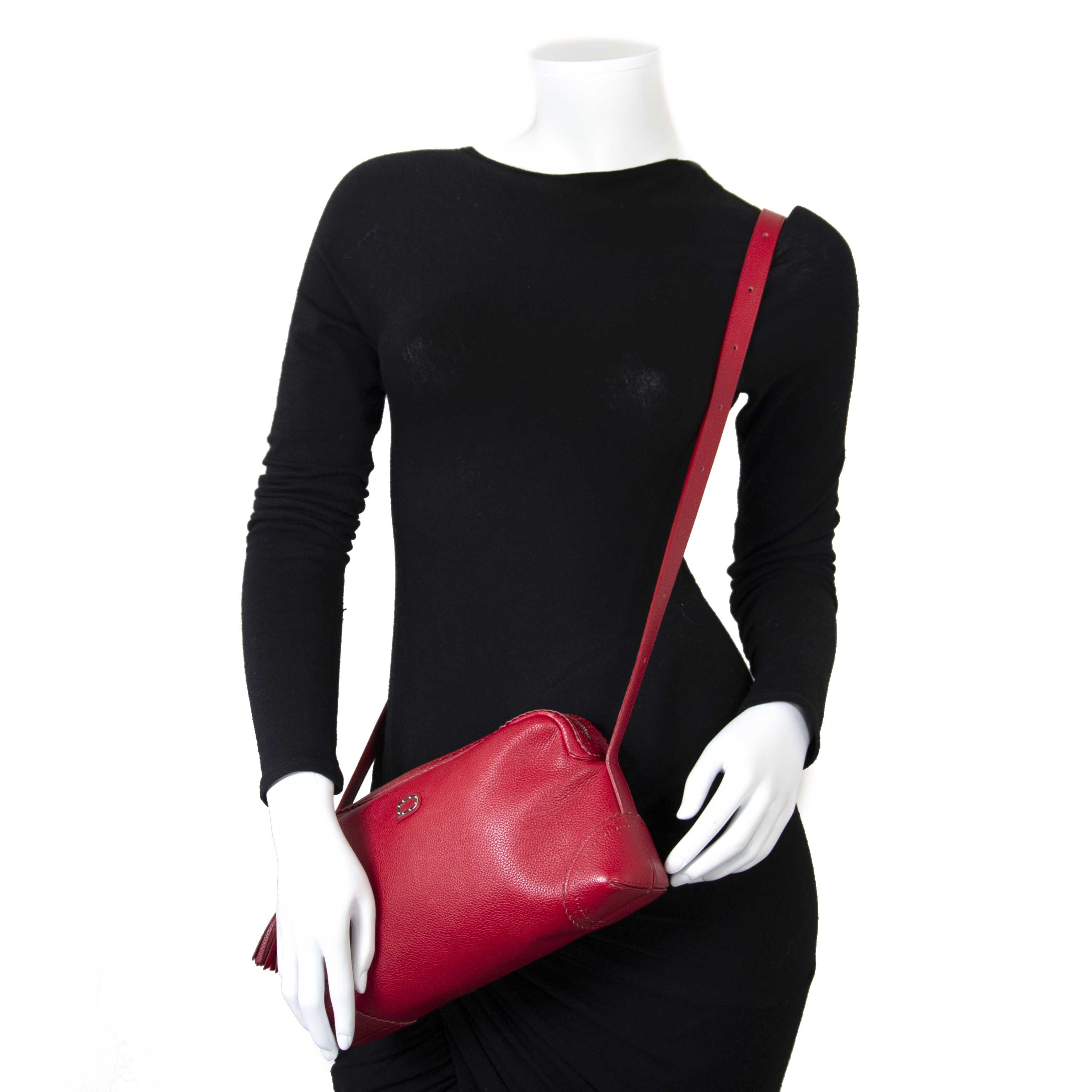Delvaux Red Fidelio Crossbody Bag now for sale at labellov vintage fashion webshop belgium