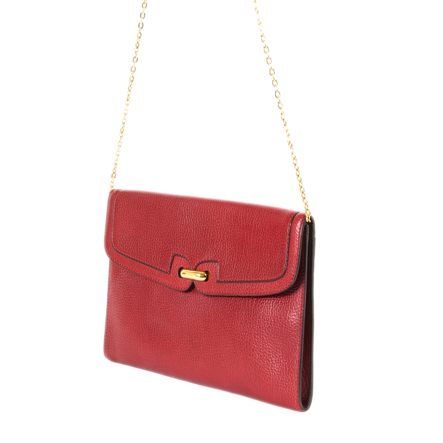 delvaux red leather clutch now for sale at labellov vintage fashion webshop belgium