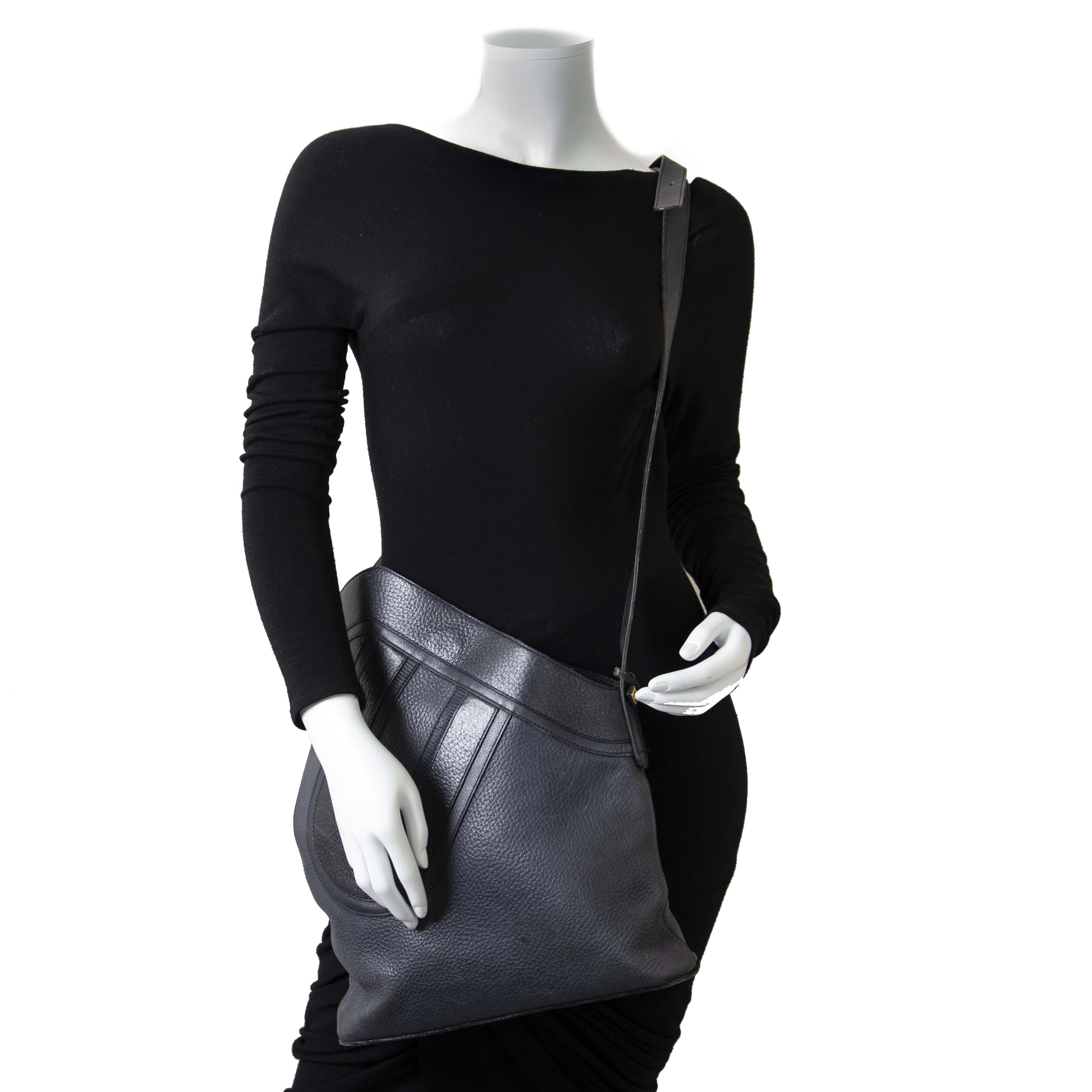 Delvaux Dark Blue 'D' Shoulder Bag now for sale at labellov vintage fashion webshop belgium