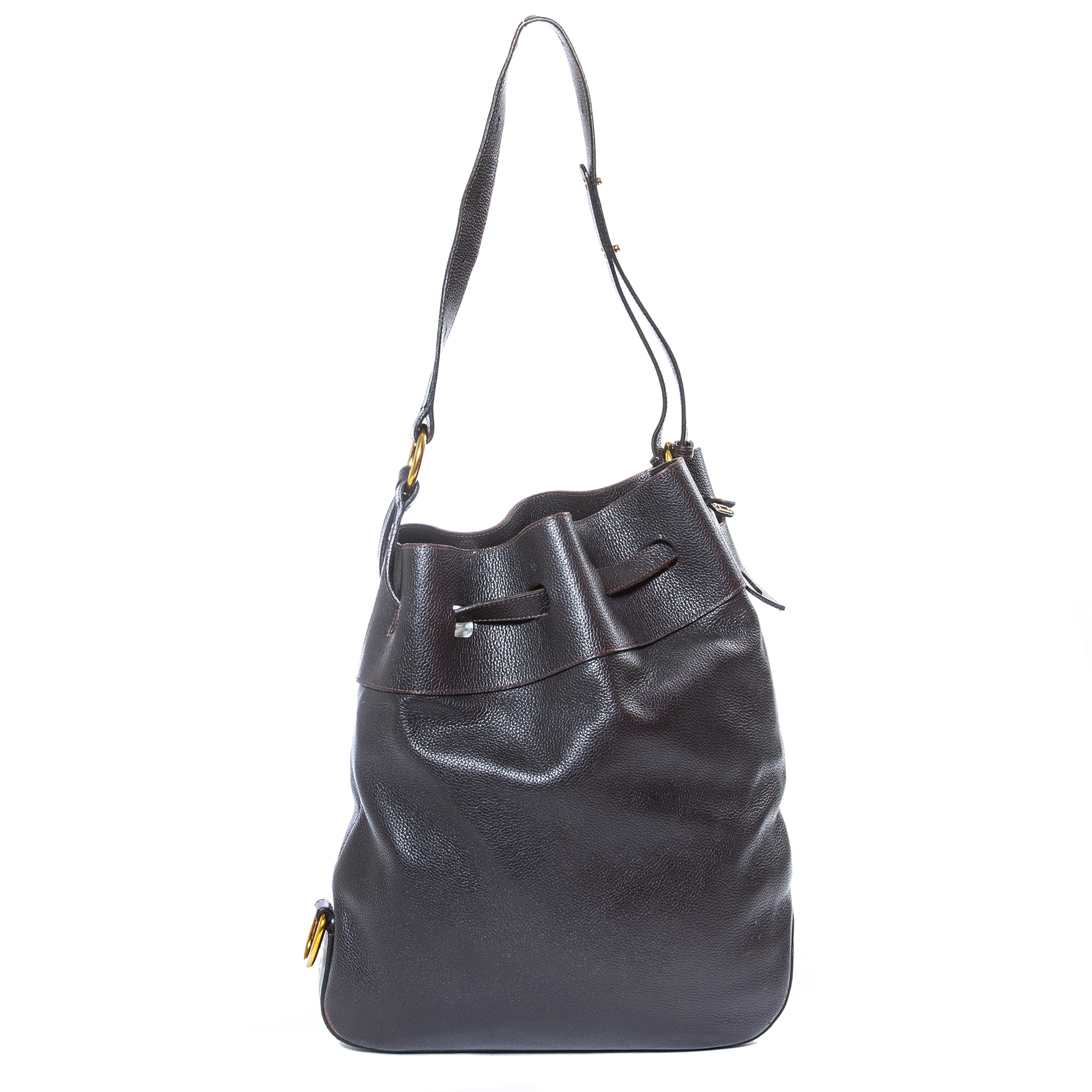 Delvaux Brown Drawstring Leather Bag