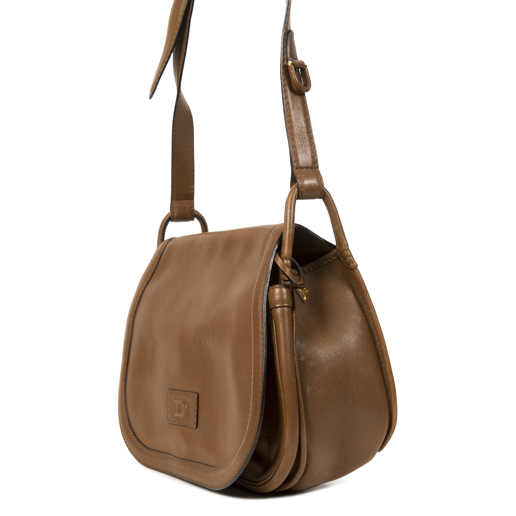 Delvaux Taupe Brown Leather Crossbody Bag