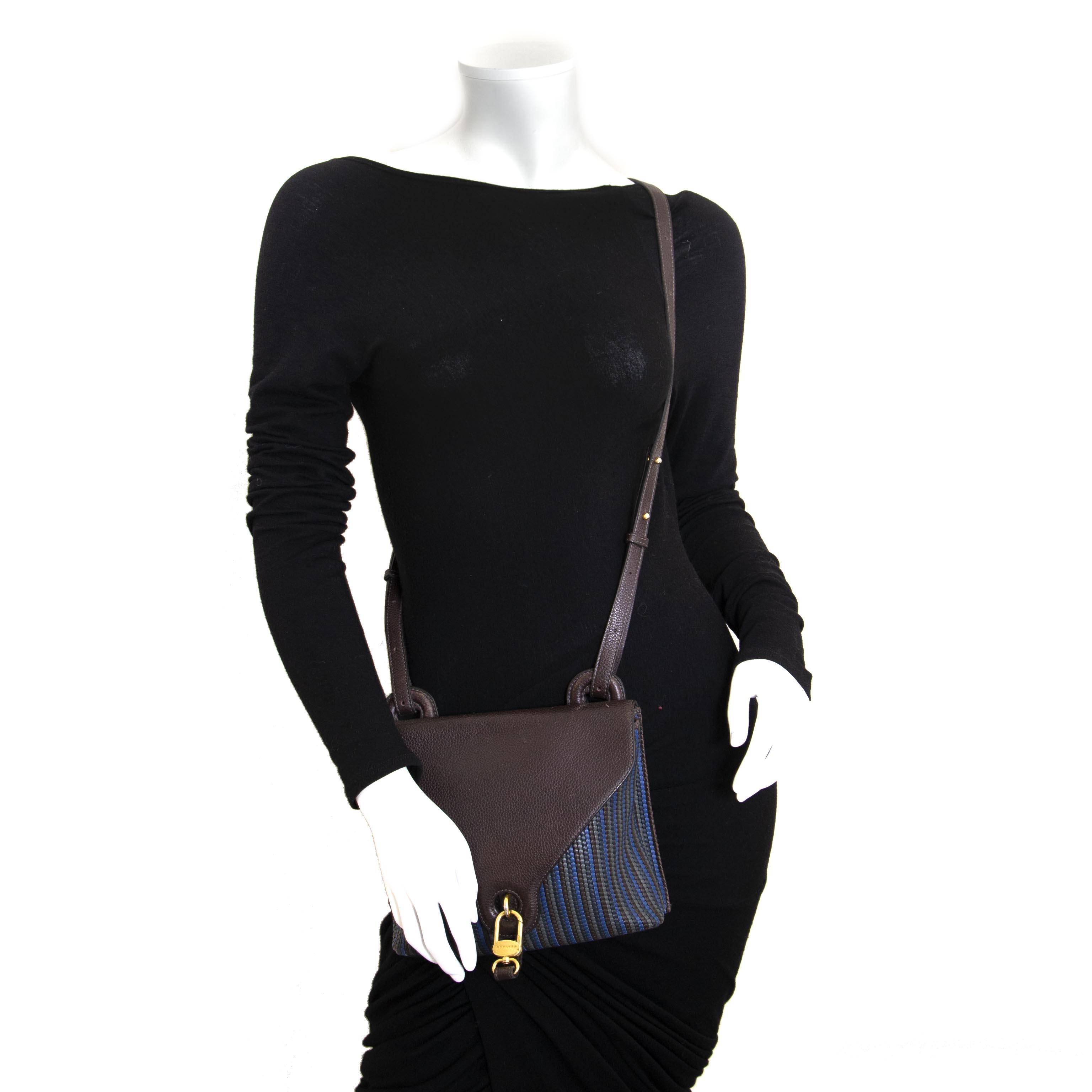 Delvaux Brown And Blue Goutte GM Toile De Cuir Shoulder Bag now for sale at labellov vintage fashion webshop belgium