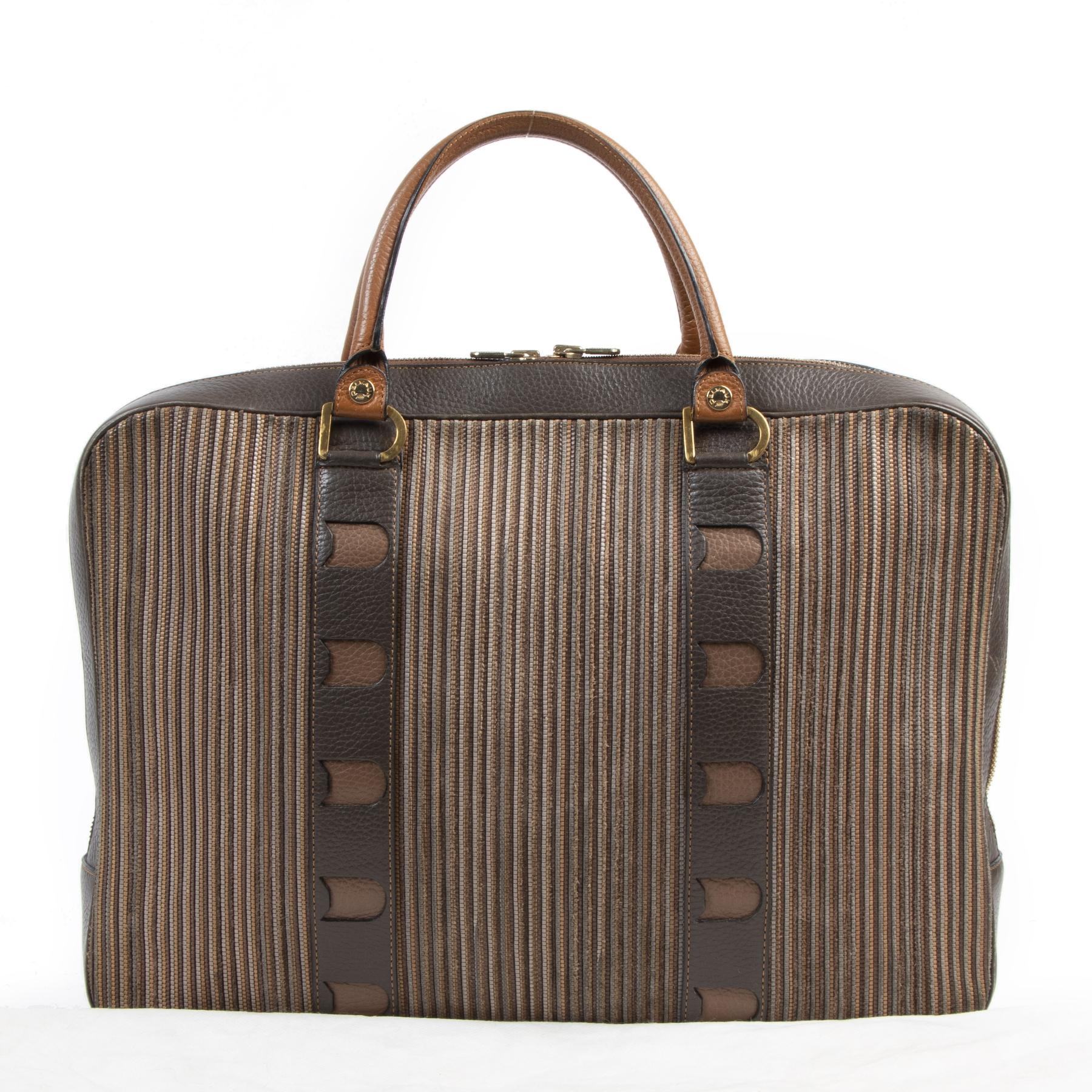Authentieke tweedehands vintage Delvaux Toile De Cuir Briefcase koop online webshop LabelLOV