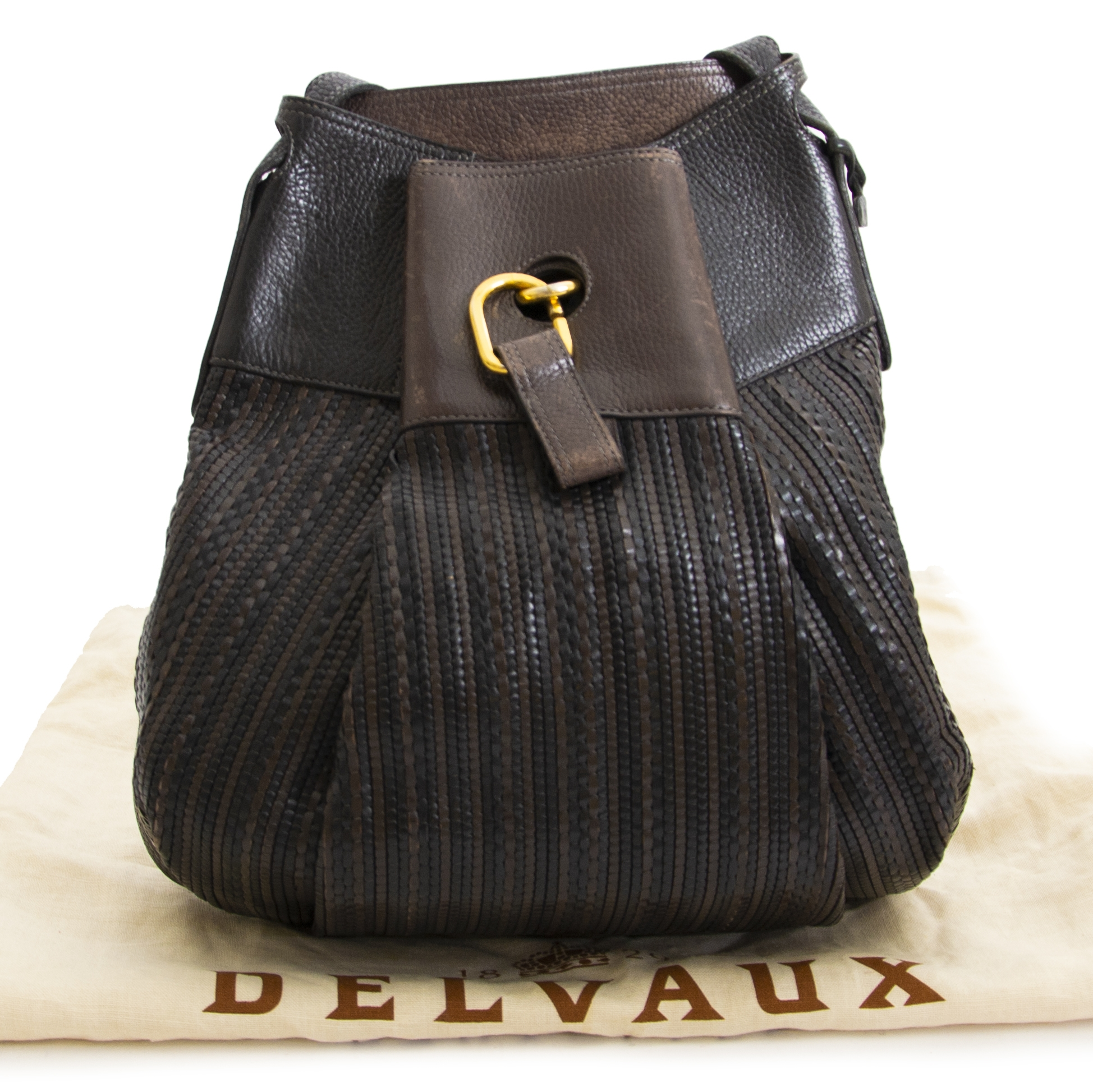 Delvaux Black and Brown Bicolor Tressé Faust Bag  now online at labellov.com for the best price