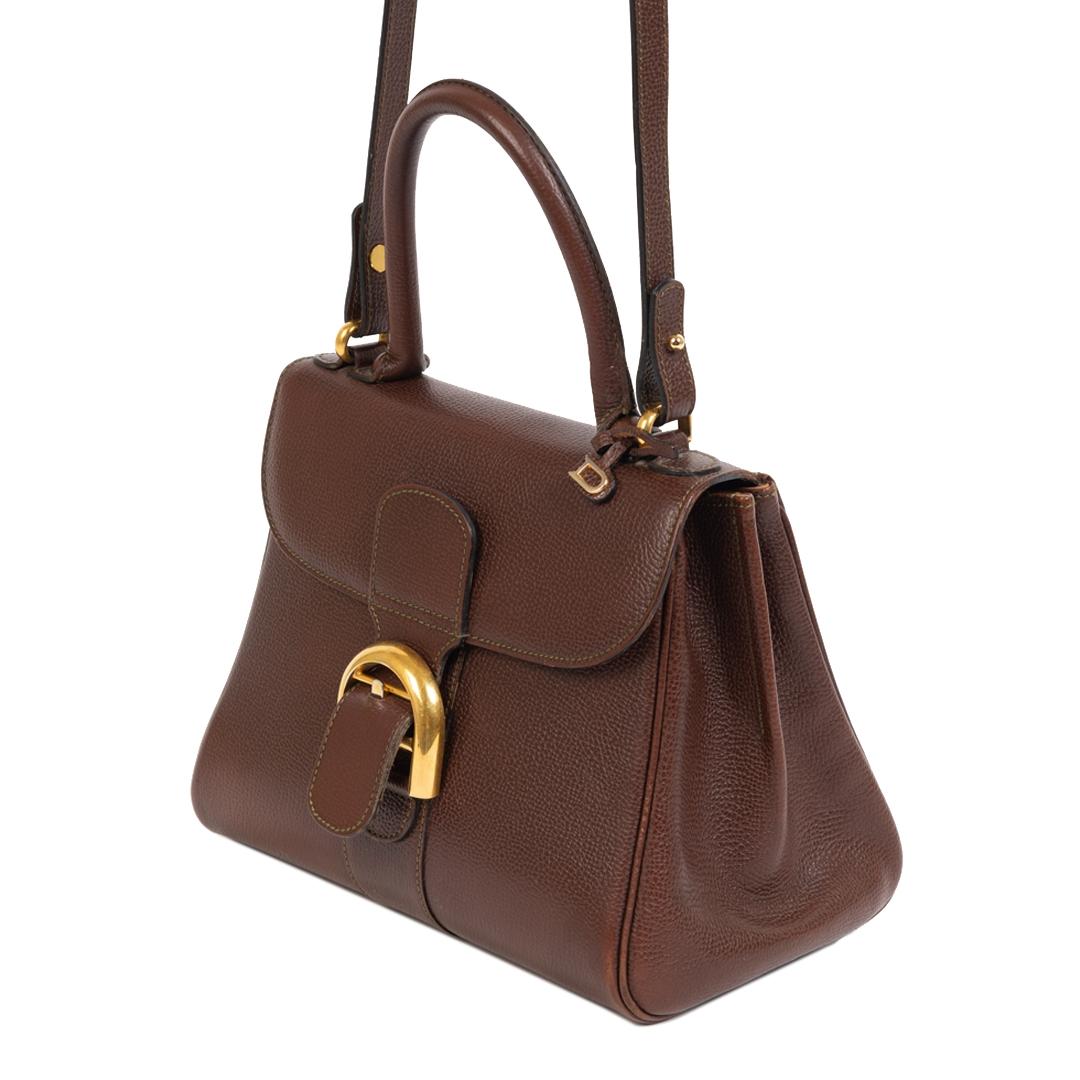 Authentieke Tweedehands Delvaux Brillant Brown PM Bag juiste prijs veilig online shoppen luxe merken webshop winkelen Antwerpen België mode fashion