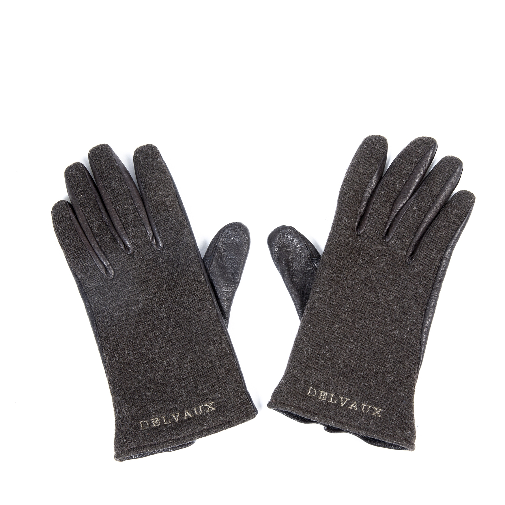 Delvaux Brown Wool And Leather Gloves