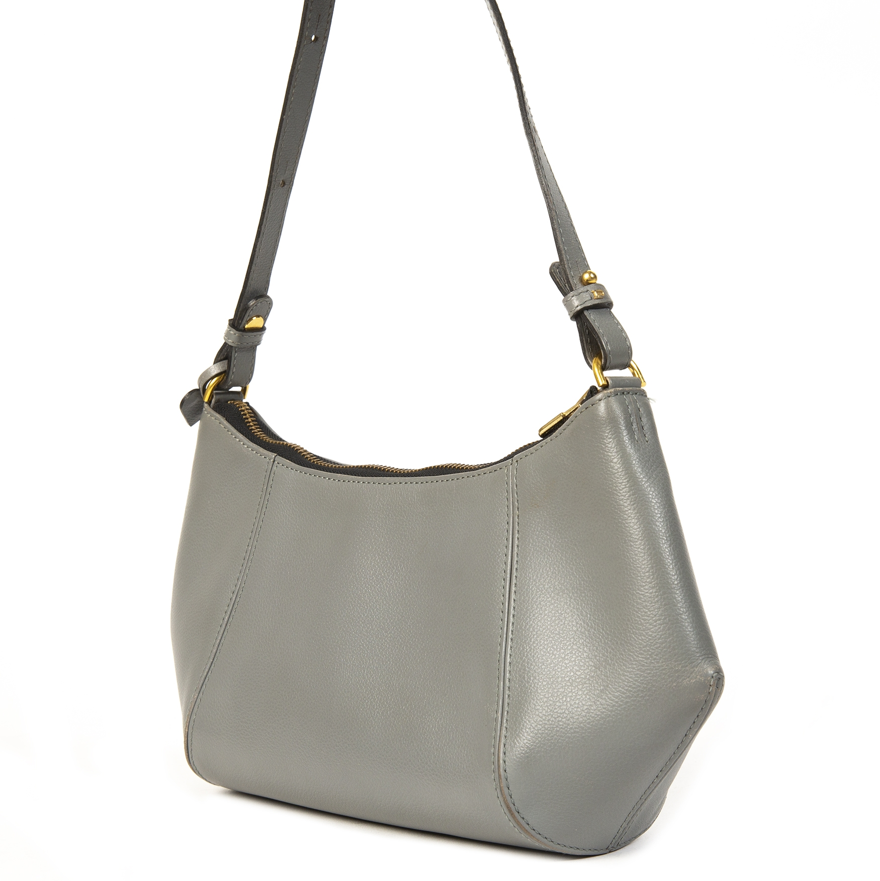 Delvaux Grey Leather Shoulder Bag