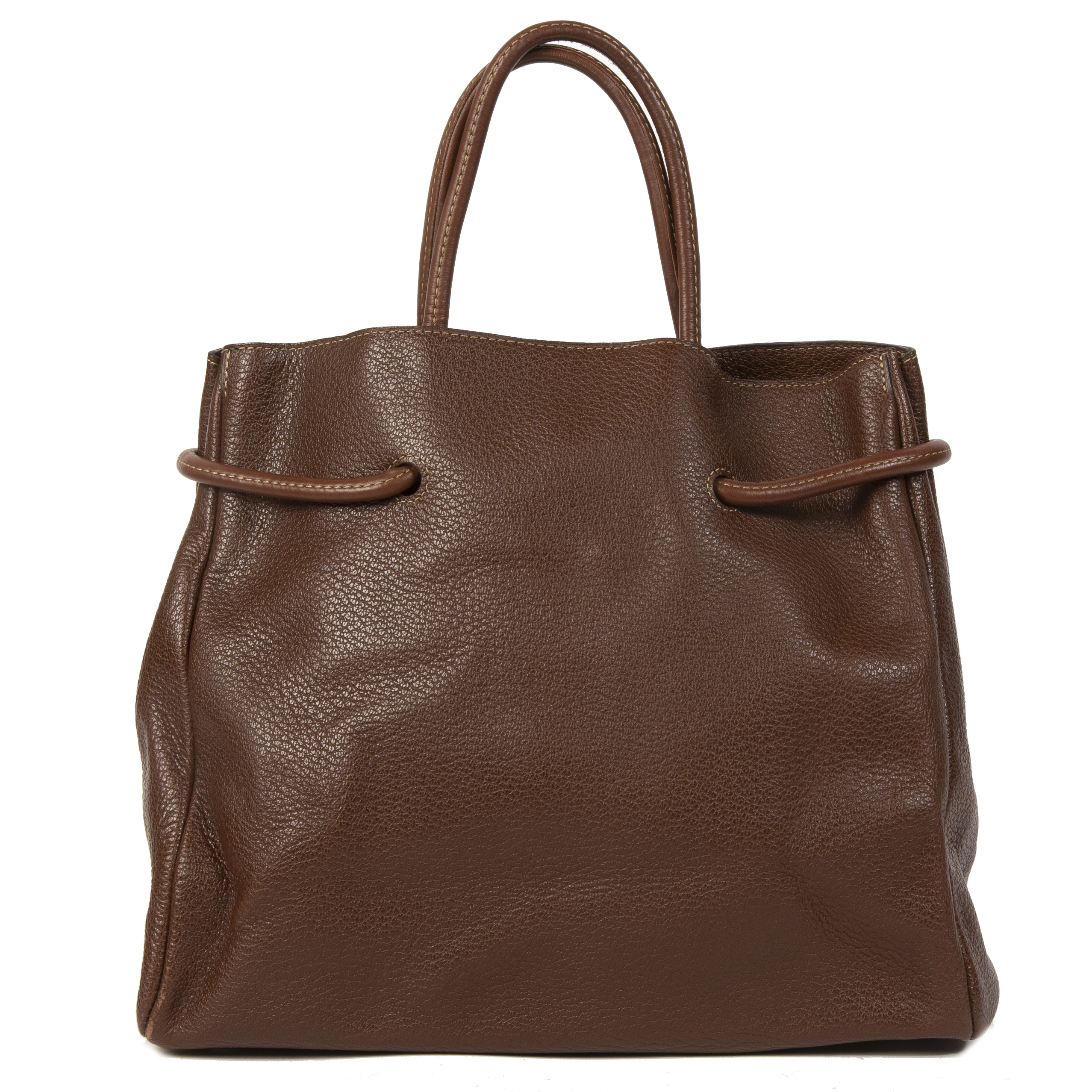shop safe online Deux de Delvaux Chestnut Brown Top Handle