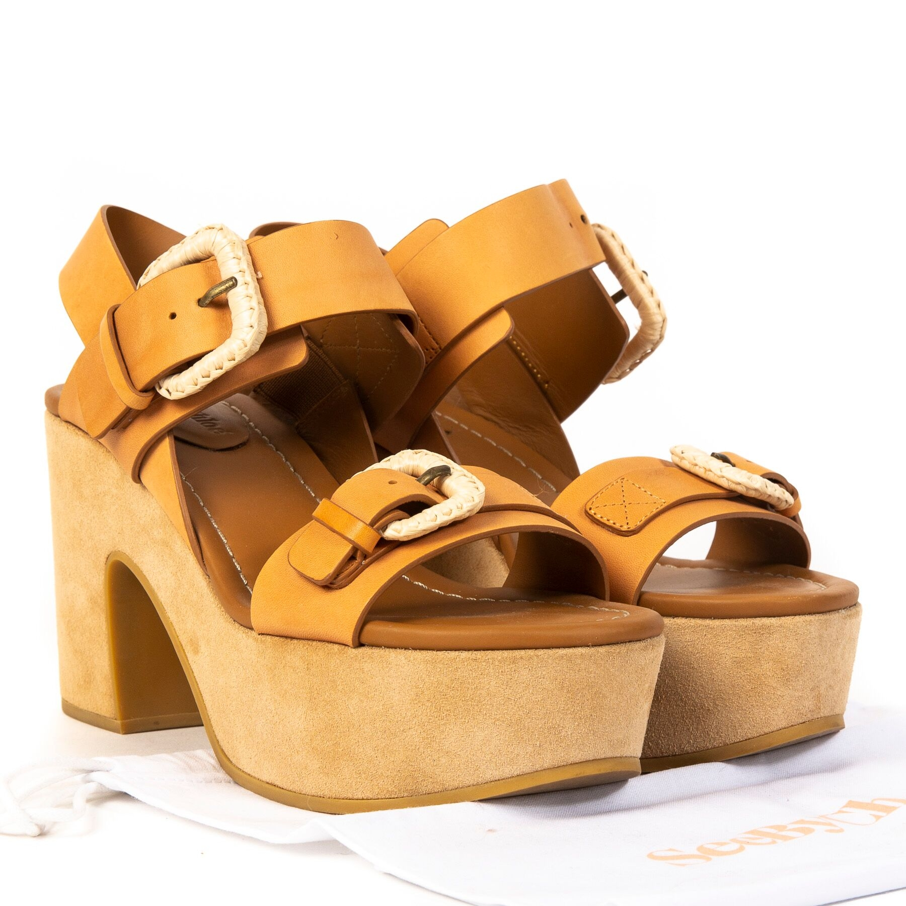 Buy authentic secondhand See By Chloé Camel Nora Sandals - Size 38  at online webshop LabelLOV.