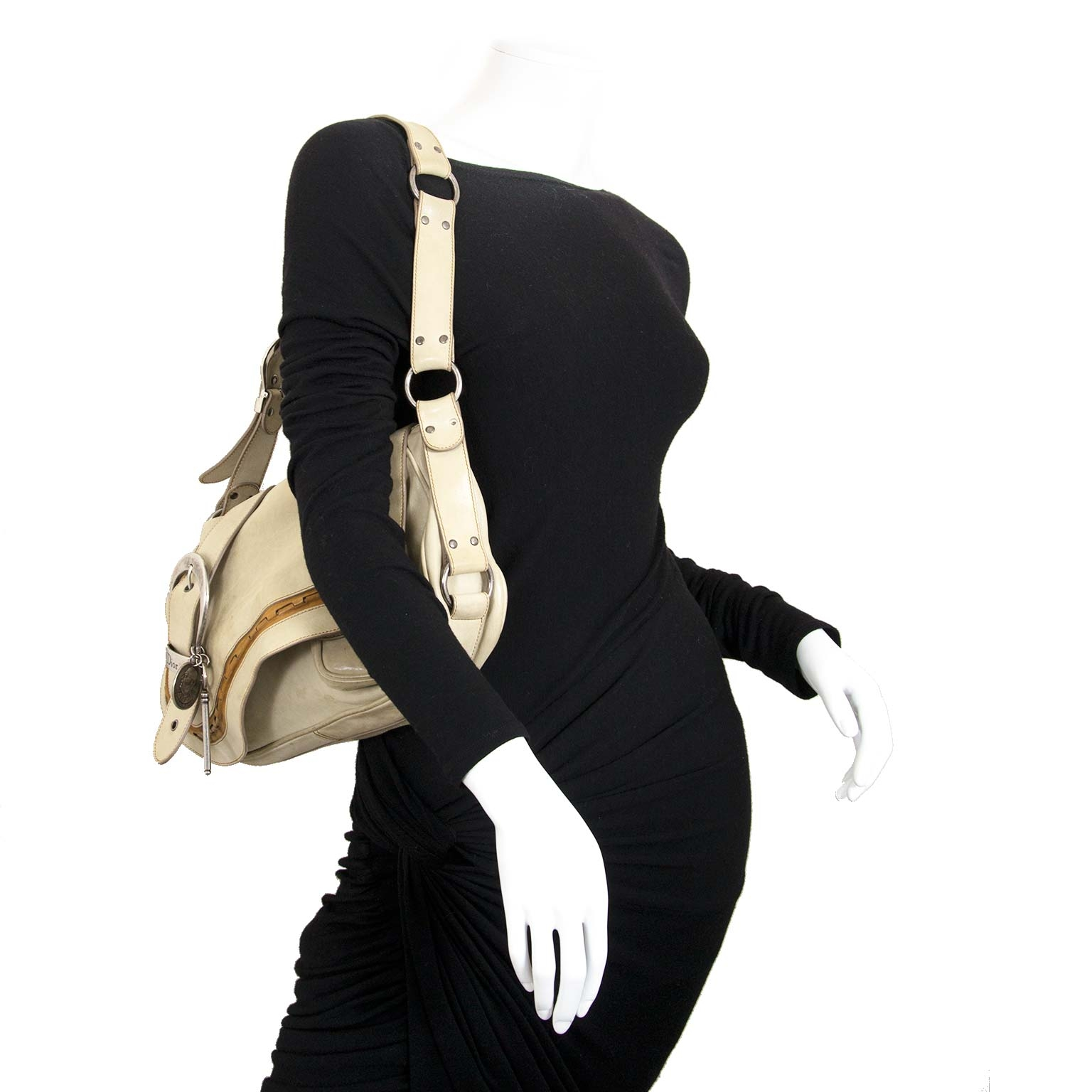 dior beige gaucho saddle bag now for sale at labellov vintage fashion webshop belgium