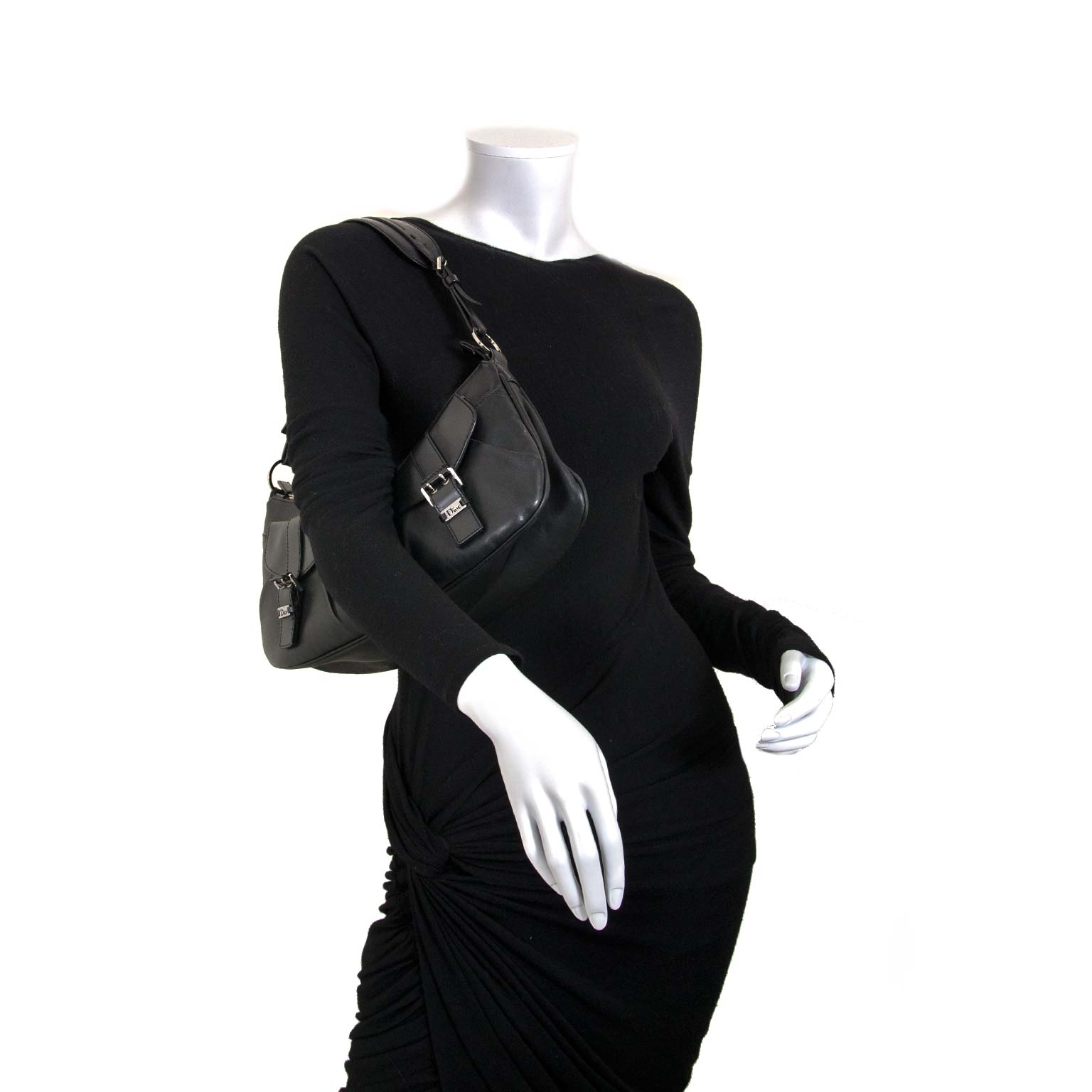 dior black leather top handle bag now for sale at labellov vintage fashion webshop belgium