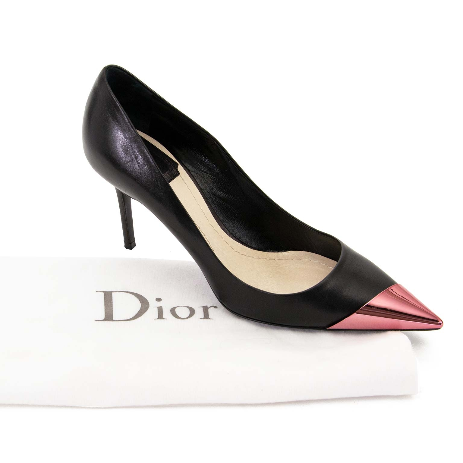 christian dior black pointed metallic cap toe pumps now for sale at labellov vintage fashion webshop belgium