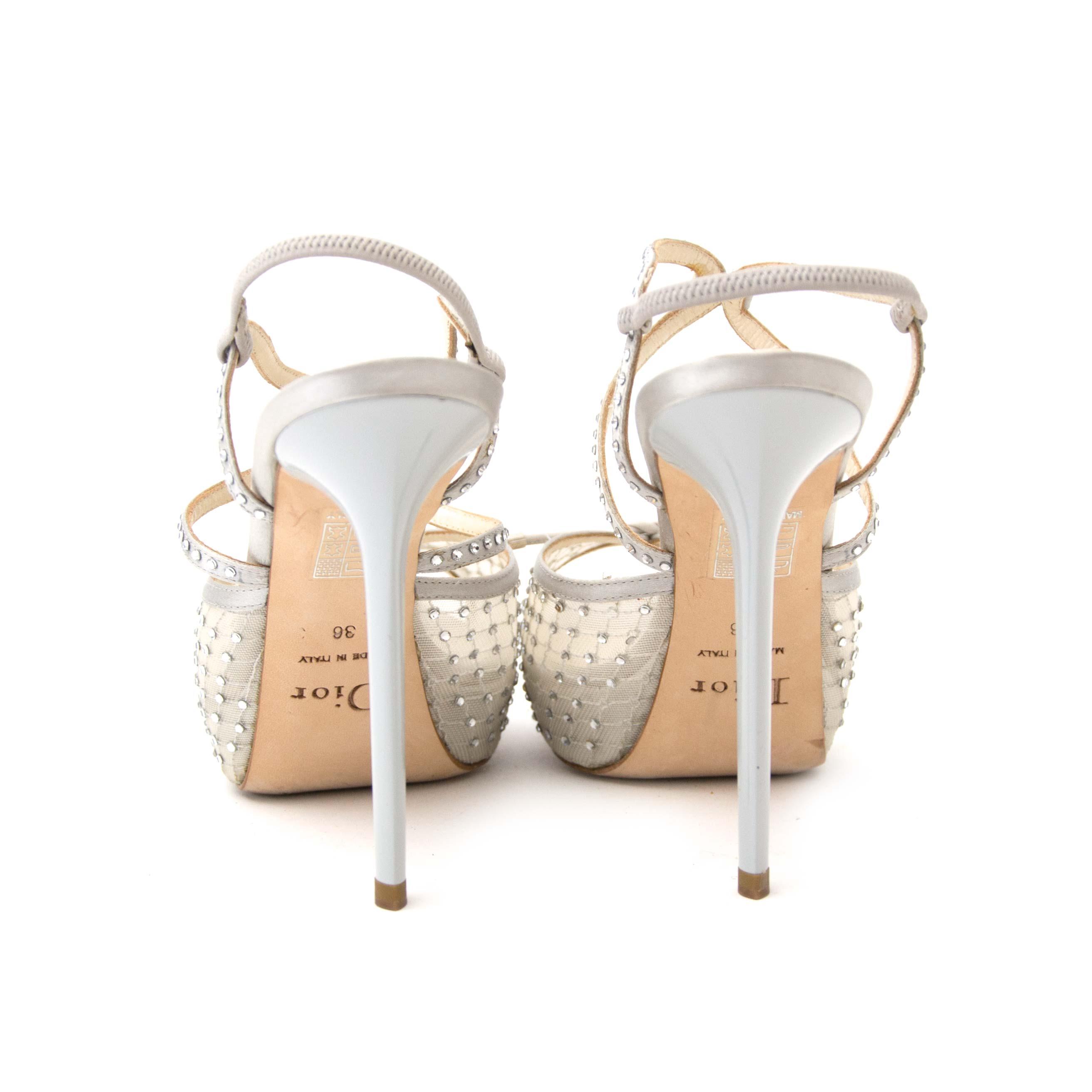 31f59a60048 Labellov Christian Dior Silver Crystal Platform Sandals - size 36 ...
