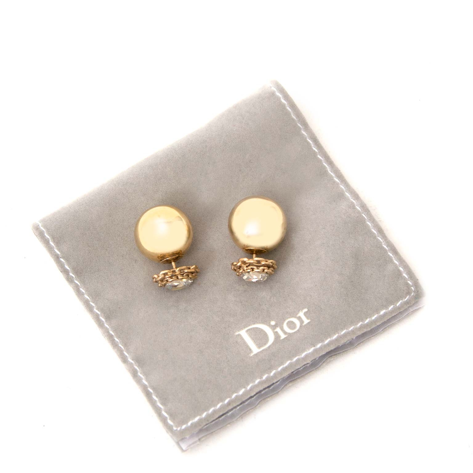 comme neuf boucle d'oreilles Chistian Dior Gold Rhinestone Tribal Earrings