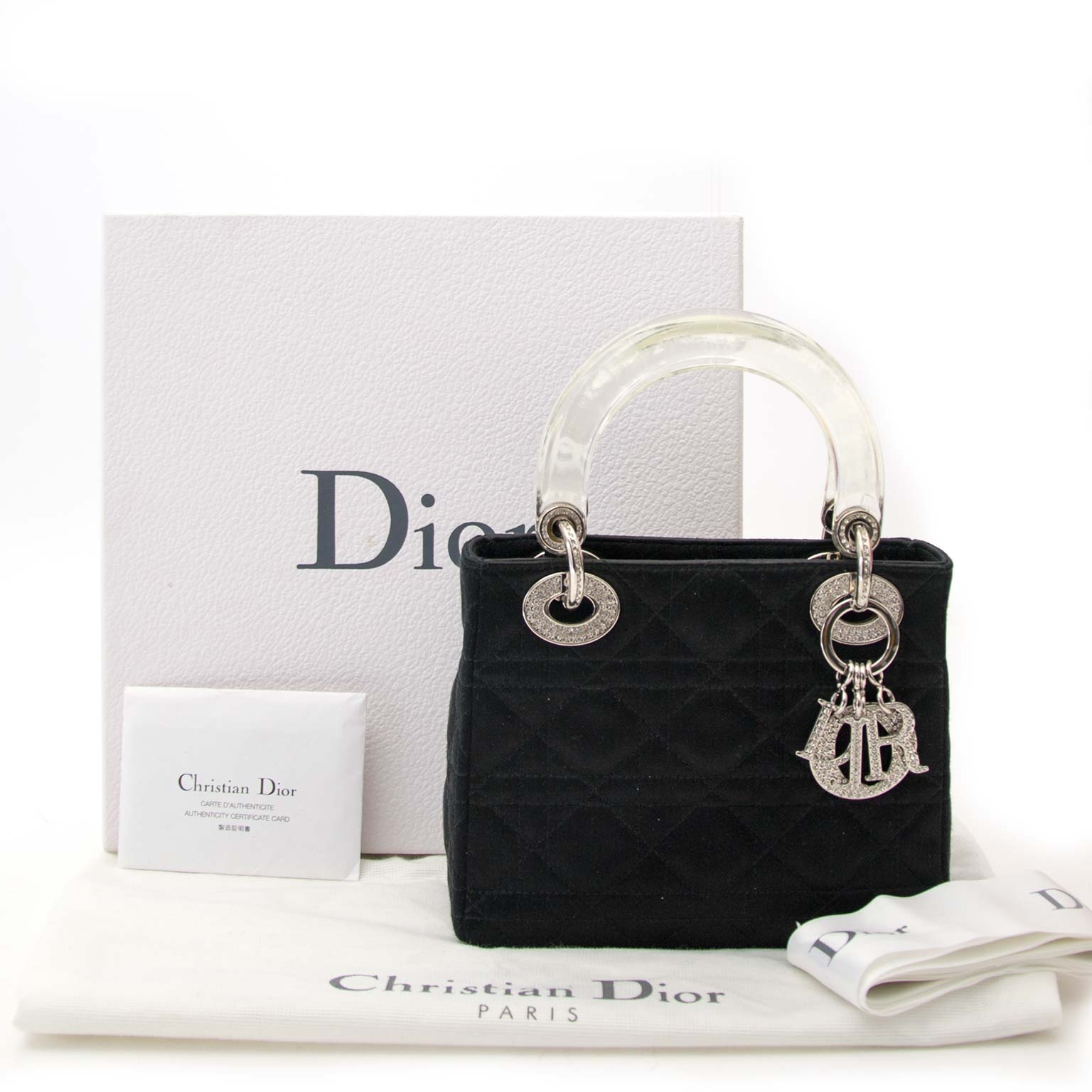 acheter en ligne seconde main Dior Lady Dior Mini Black Satin With Crystals