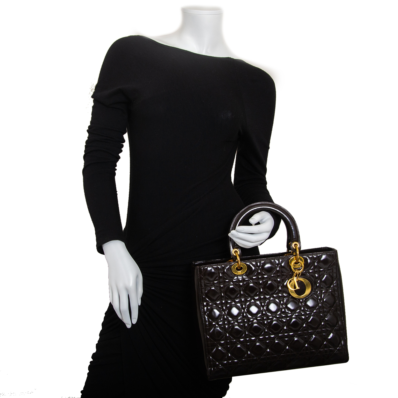 christian dior lady dior brown handbag now for sale at labellov vintage fashion webshop belgium