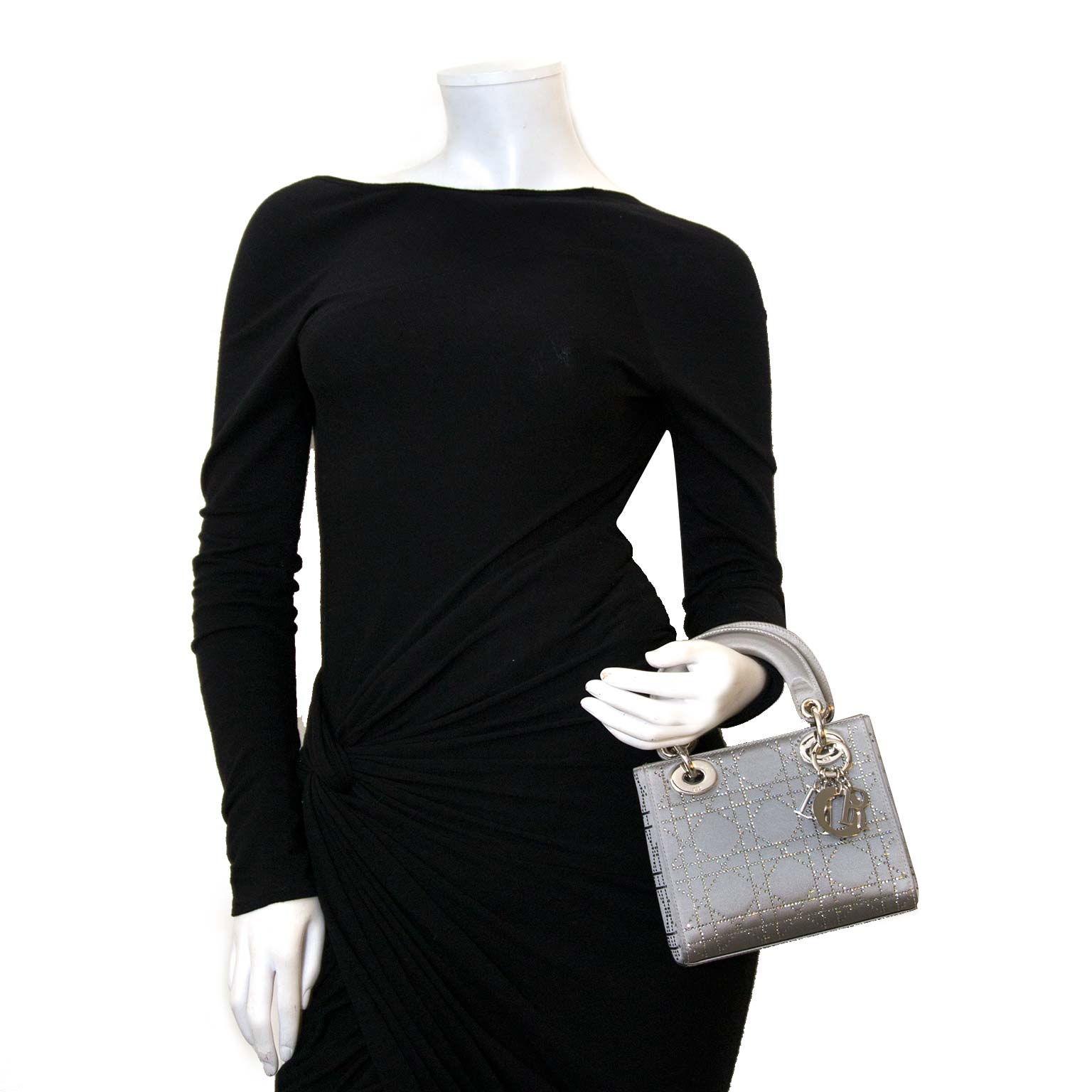 Dior Lady Dior Swarovski Satin Mini Bag for sale online at Labellov