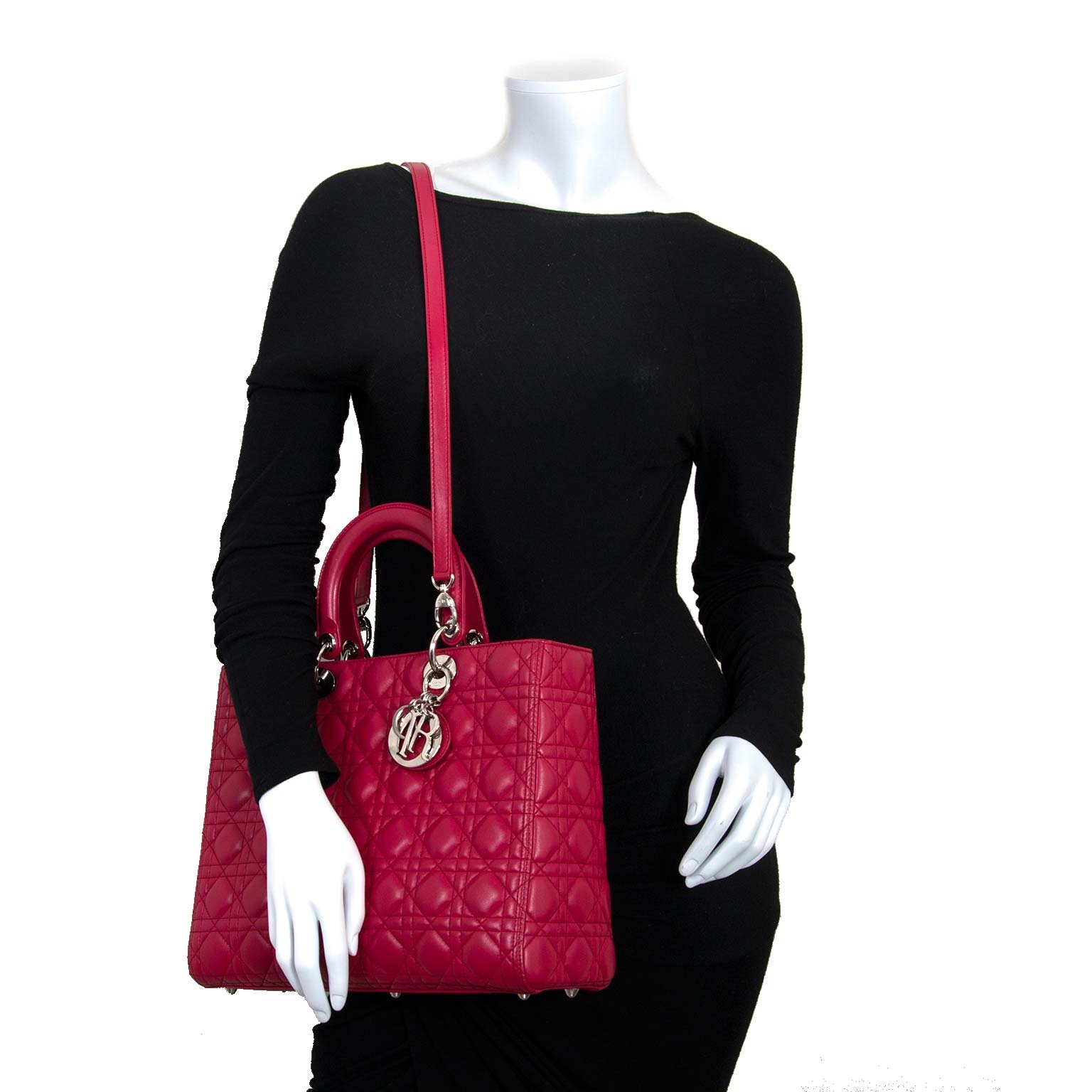 christian dior lady dior red lambskin bag now for sale at labellov vintage fashion webshop belgium