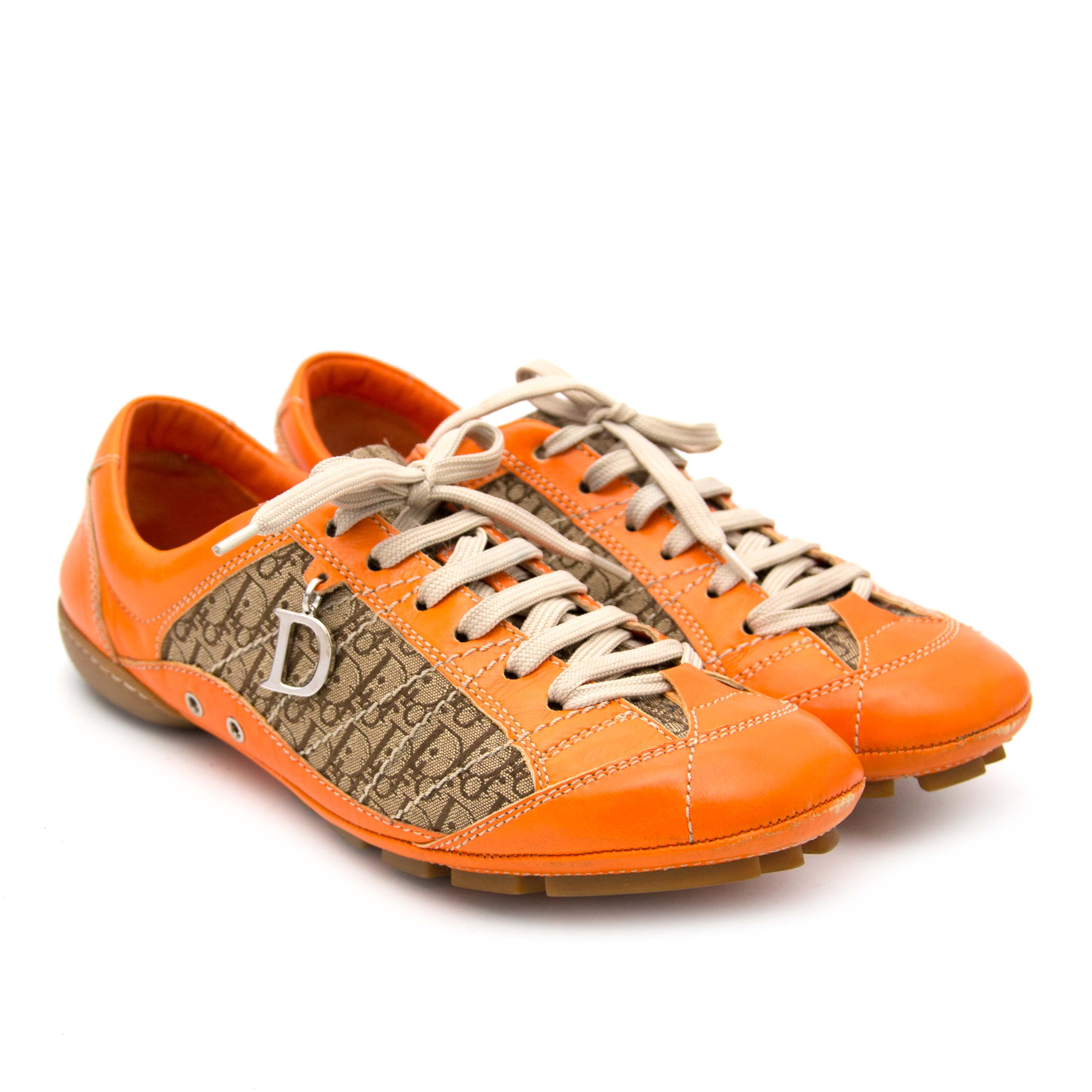Christian Dior Diorissimo Orange Driver Sneakers for sale