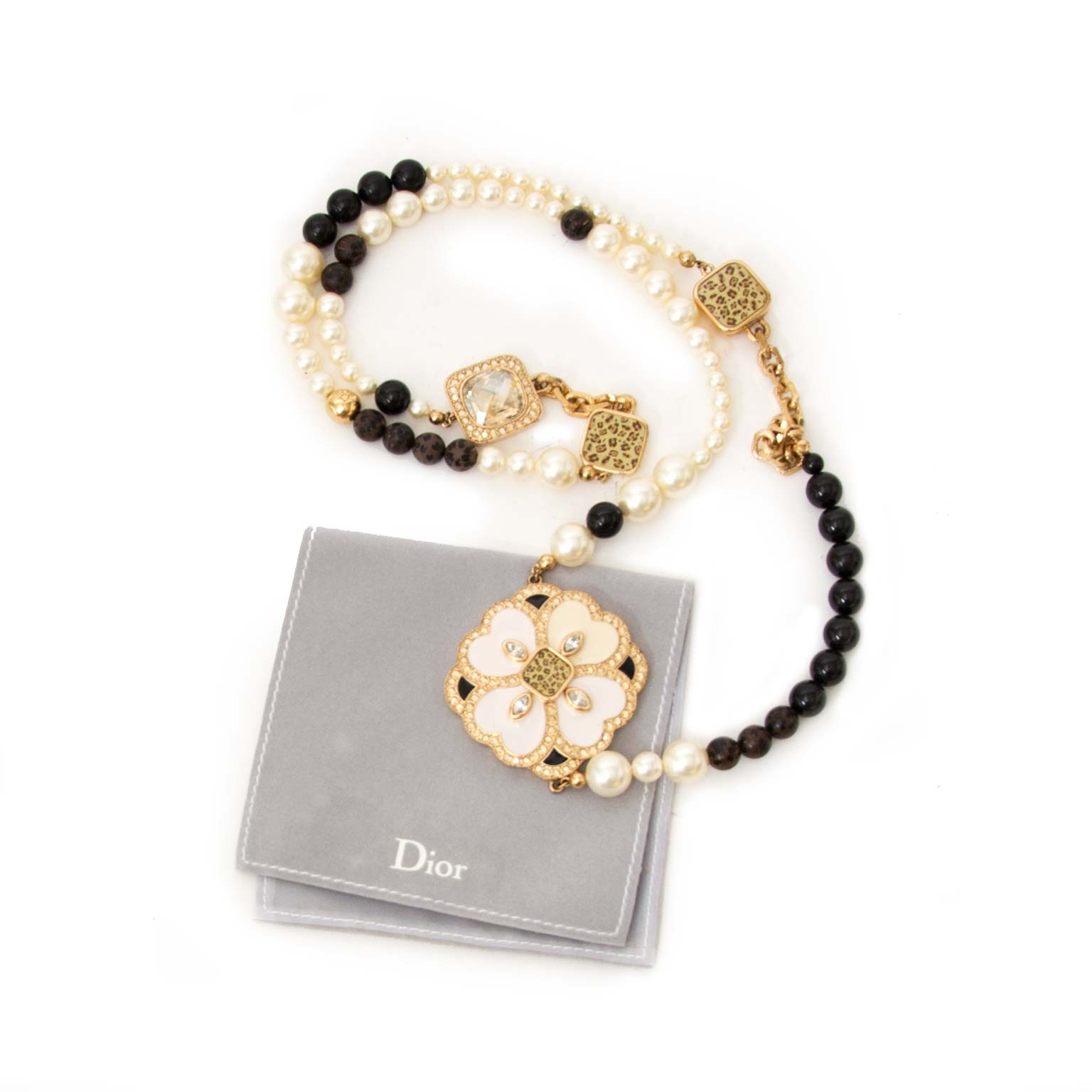 acheter en ligne seconde main Dior Faux Pearl and Leopard Crystal Flower Necklace