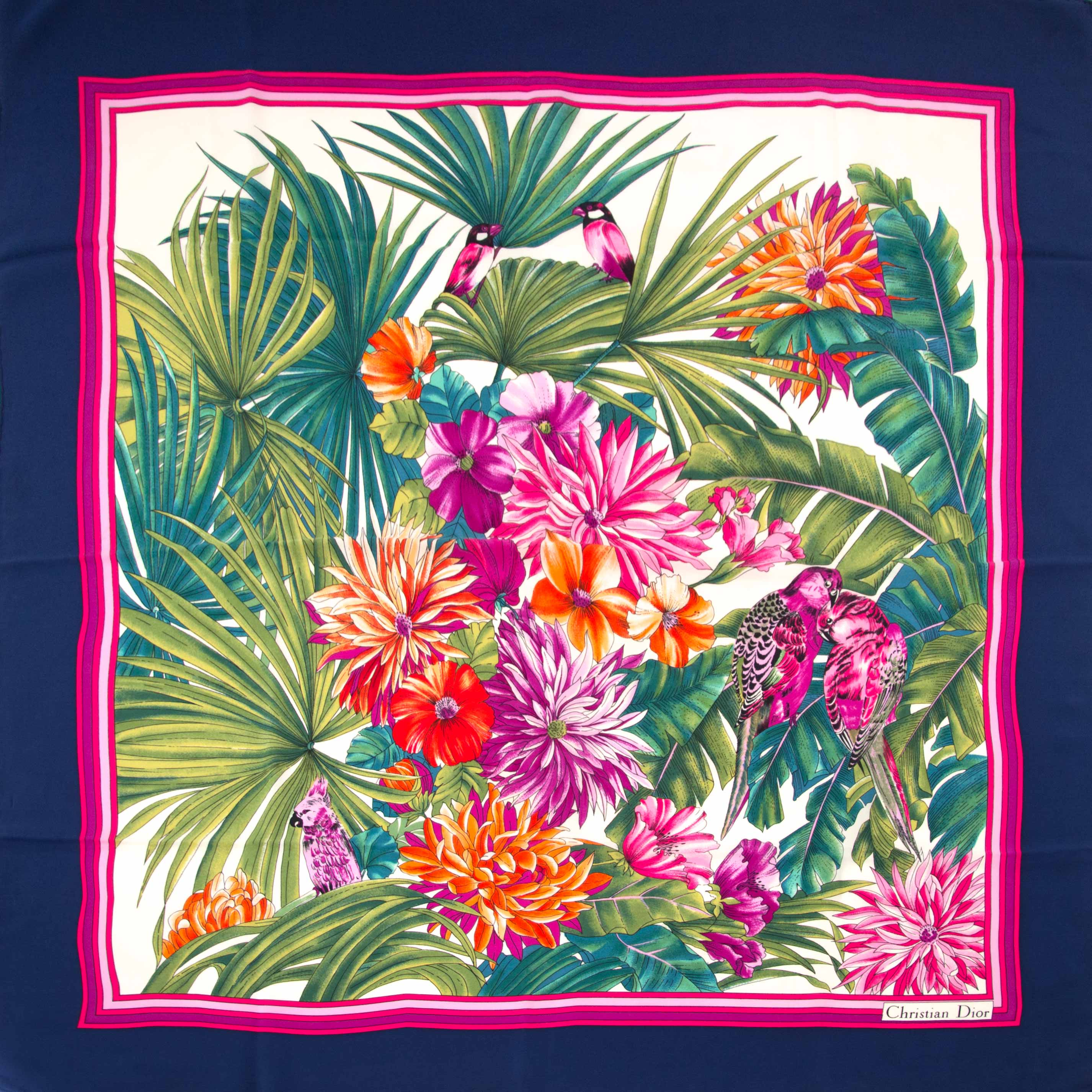 koop nu veilig online jouw tweedehands Christian Dior Dark Blue and Pink Flowers Scarf op labellov.com