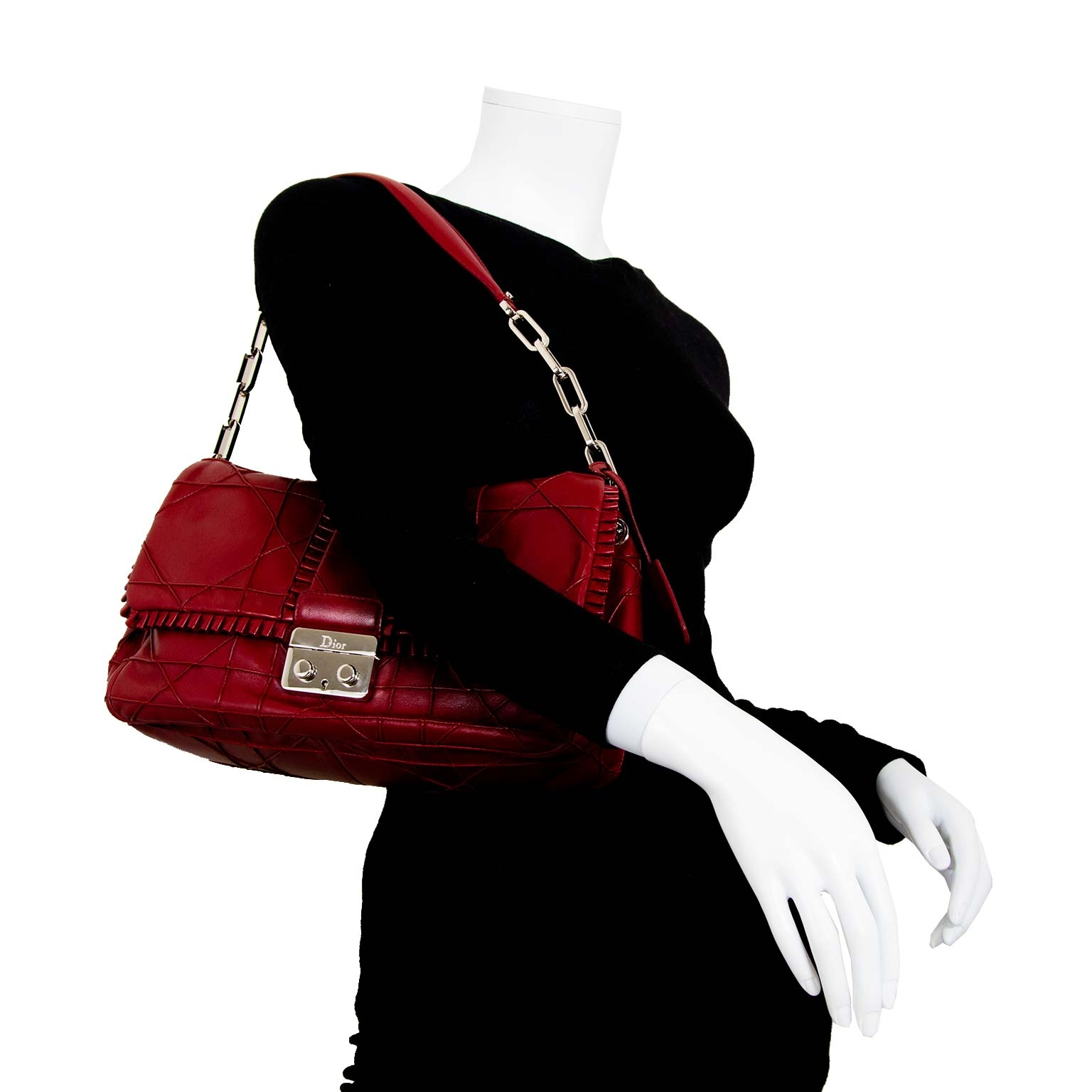 christian dior new lock cannage & ruffles flap bag now for sale at labellov vintage fashion webshop belgium