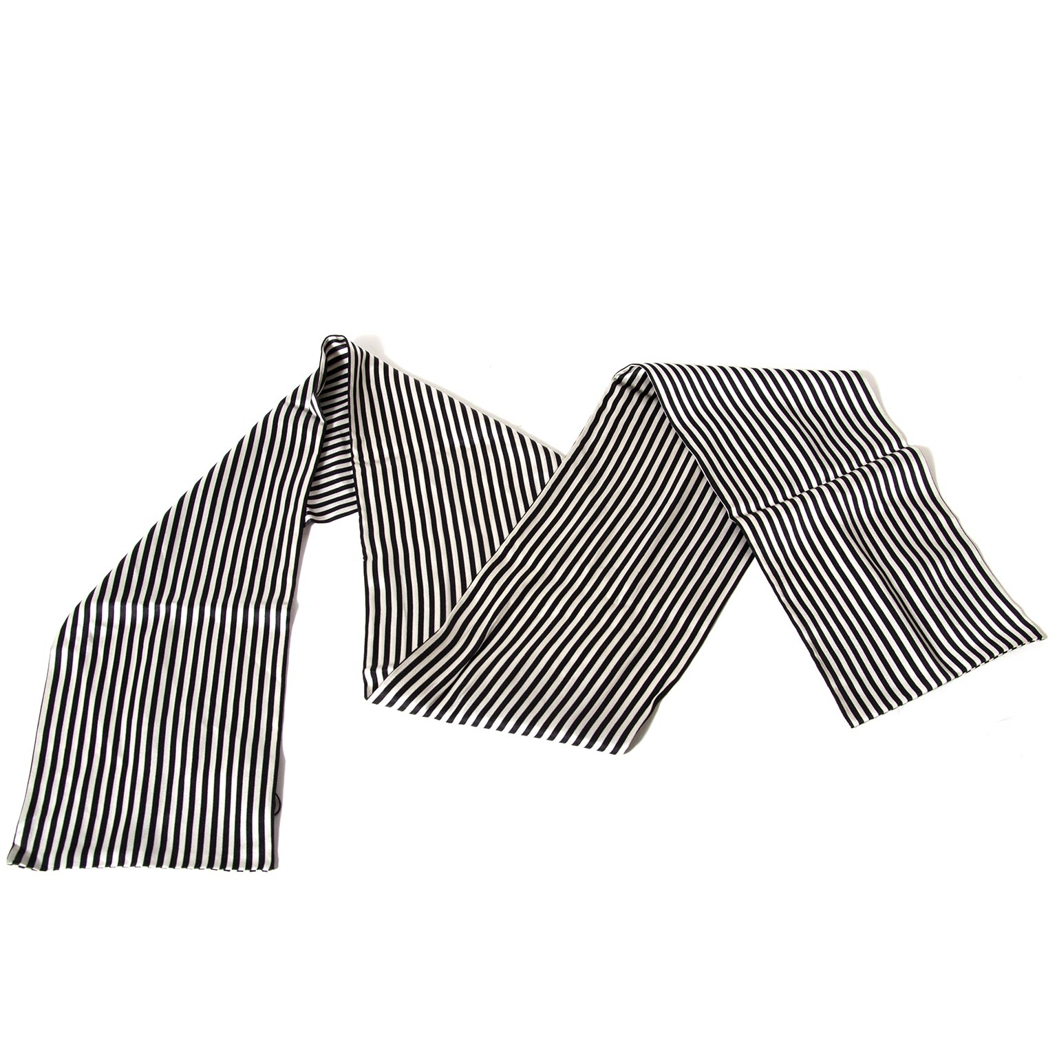 christian dior black and white stripe scarf now for sale at labellov vintage fashion webshop belgium