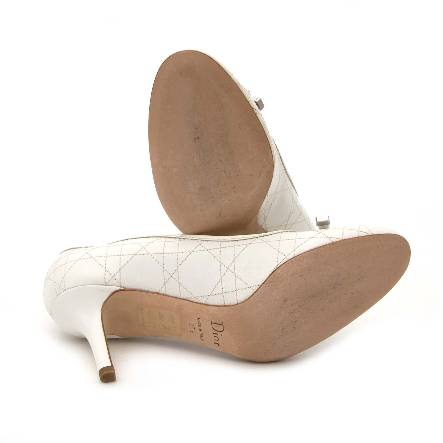 Dior White Quilted Lambskin Sweet Cannage Leather Heels - Size 37,5