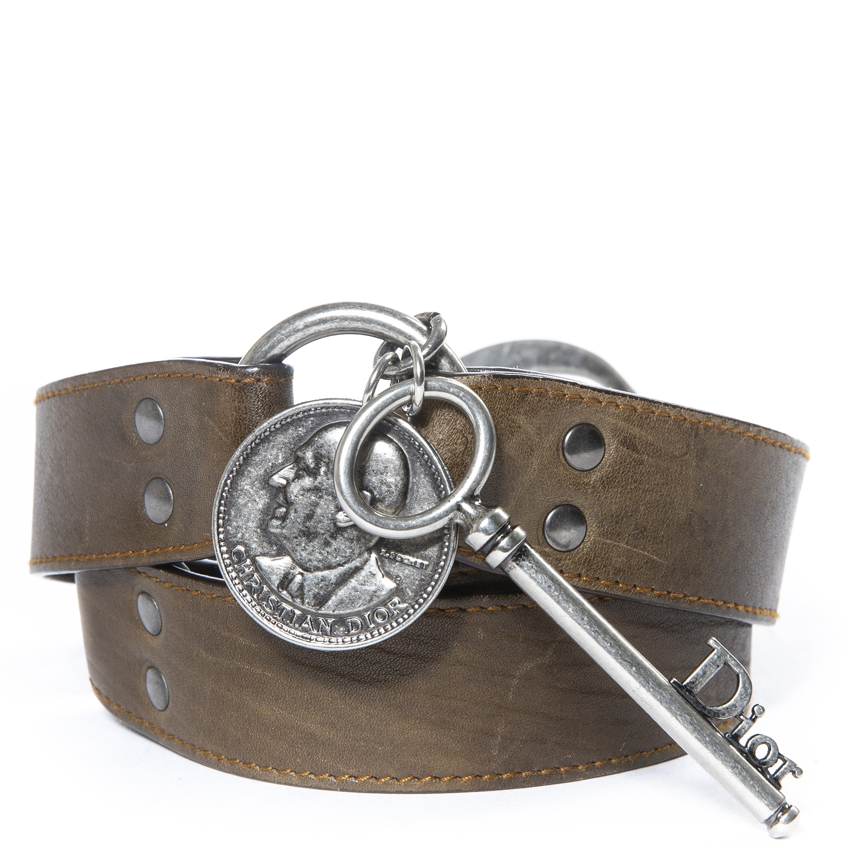 Christian Dior Brown Leather Ring Belt