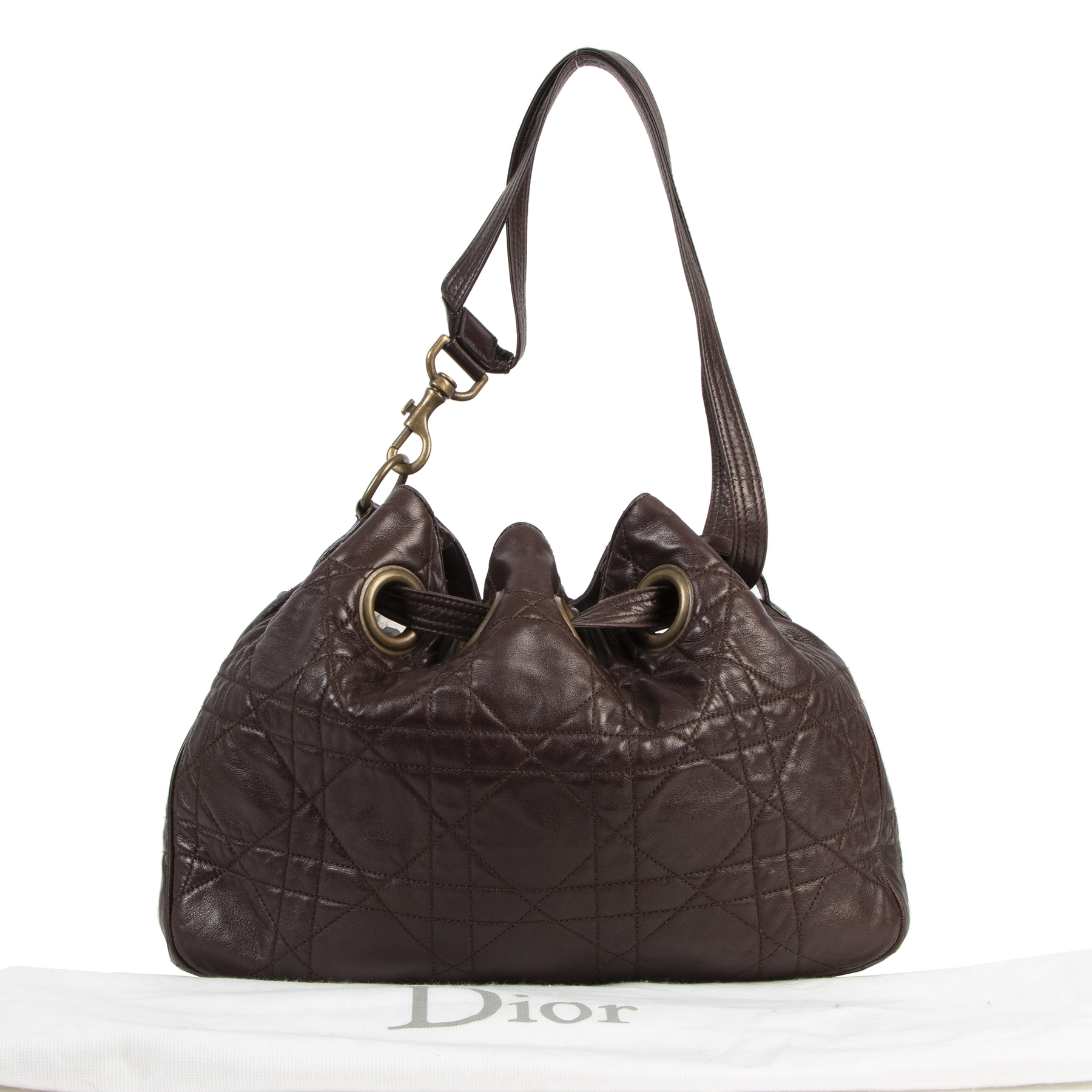 Authentique seconde-main vintage Christian Dior Dark Brown Cannage Bucket Bag achète en ligne webshop LabelLOV Belgique