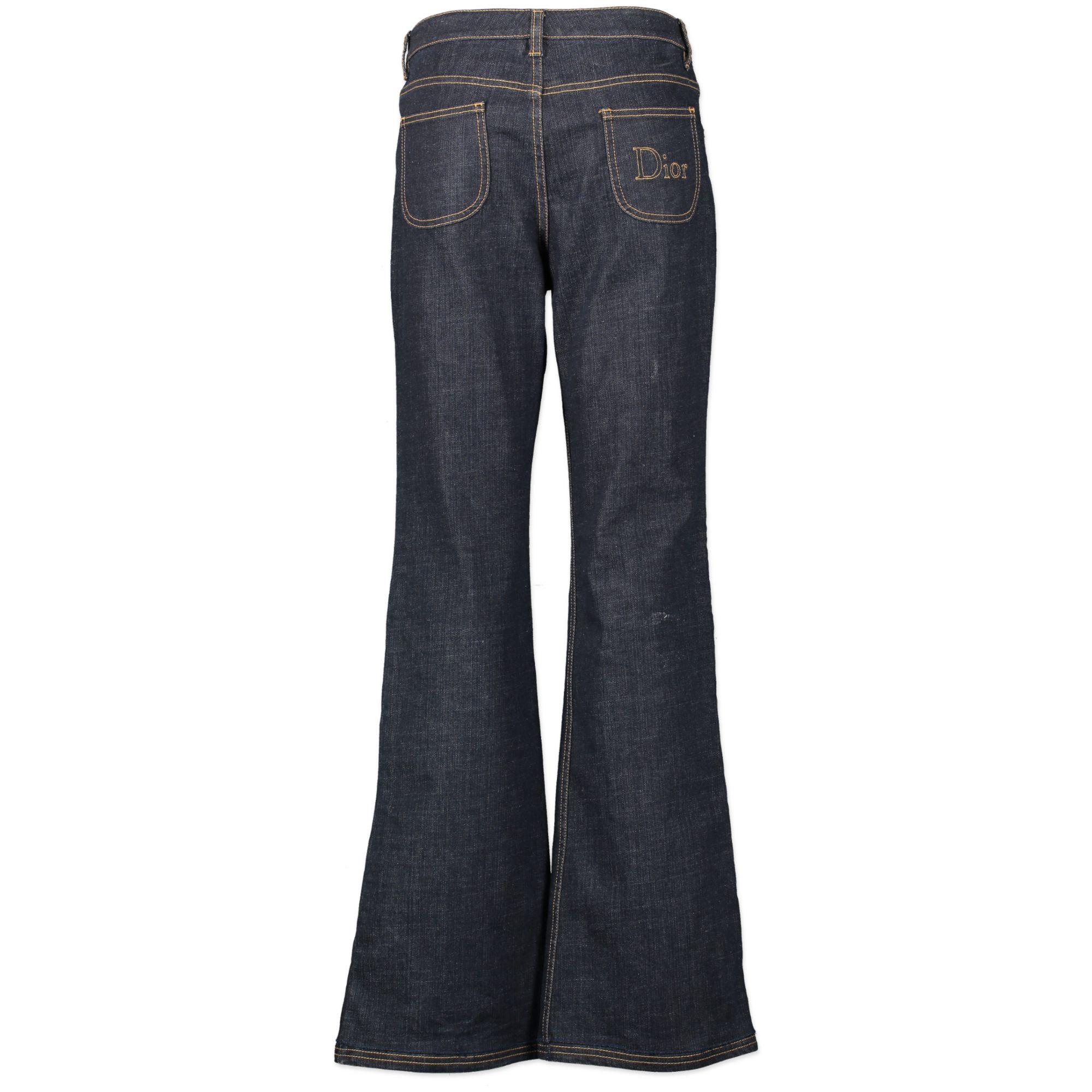 Authentieke Tweedehands Christian Dior Dark Jeans Wide Leg juiste prijs veilig online shoppen luxe merken webshop winkelen Antwerpen België mode fashion