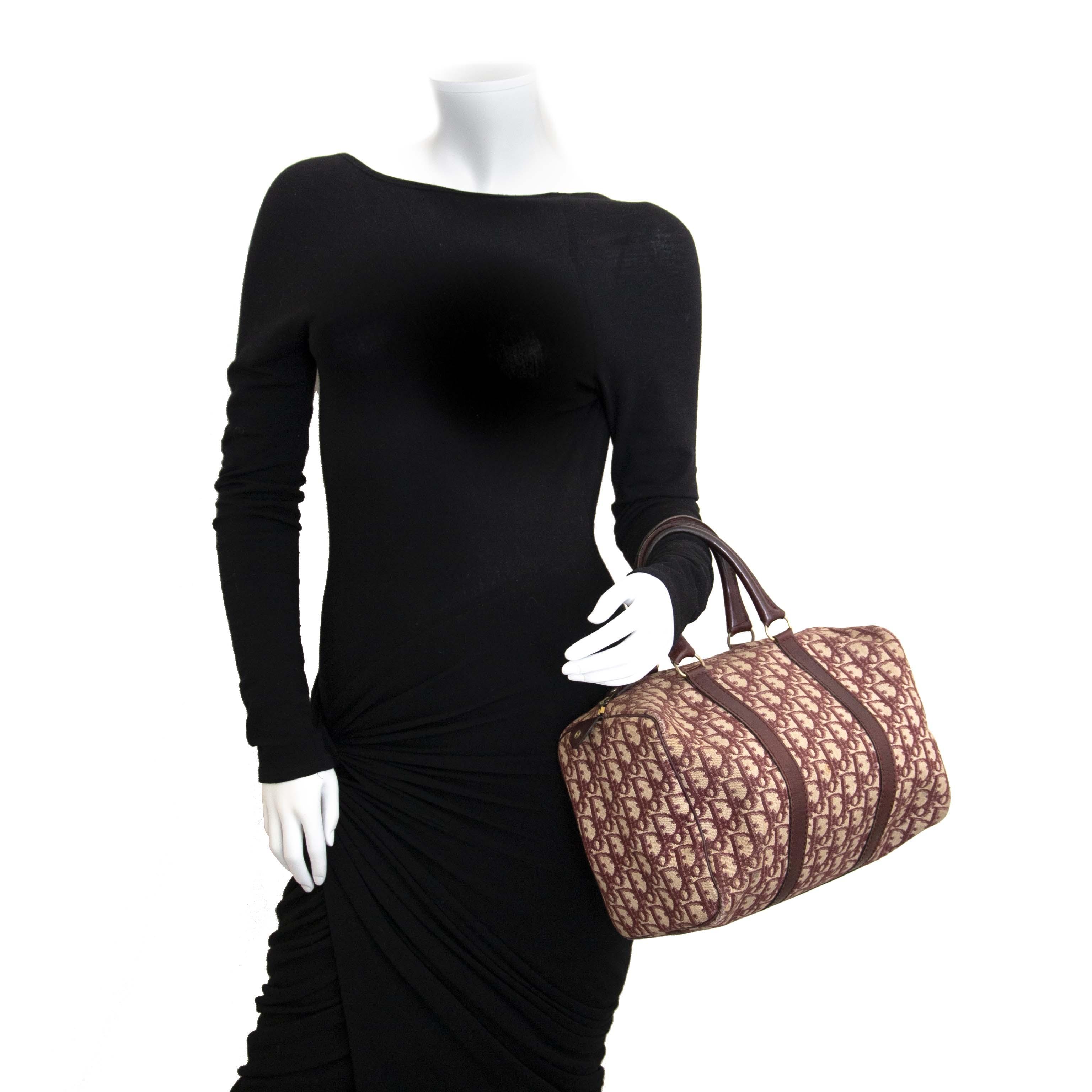 Dior Bordeaux Monogram Boston Bag now for sale at labellov vintage fashion webshop belgium