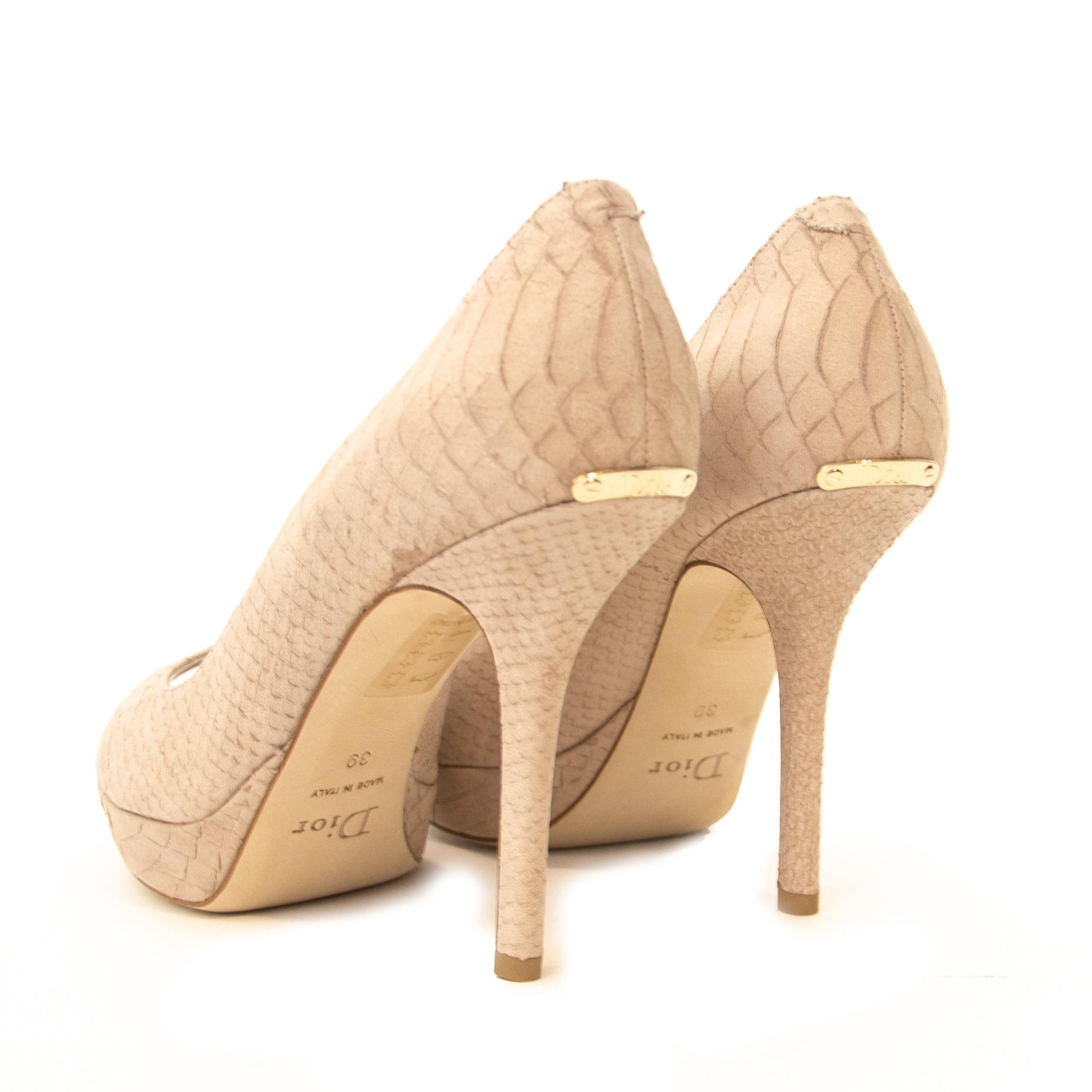 b6d42e6f430 ... Christian Dior Pink Python Peep-Toe Pumps - Size 39 Buy and sell  vintage handbags