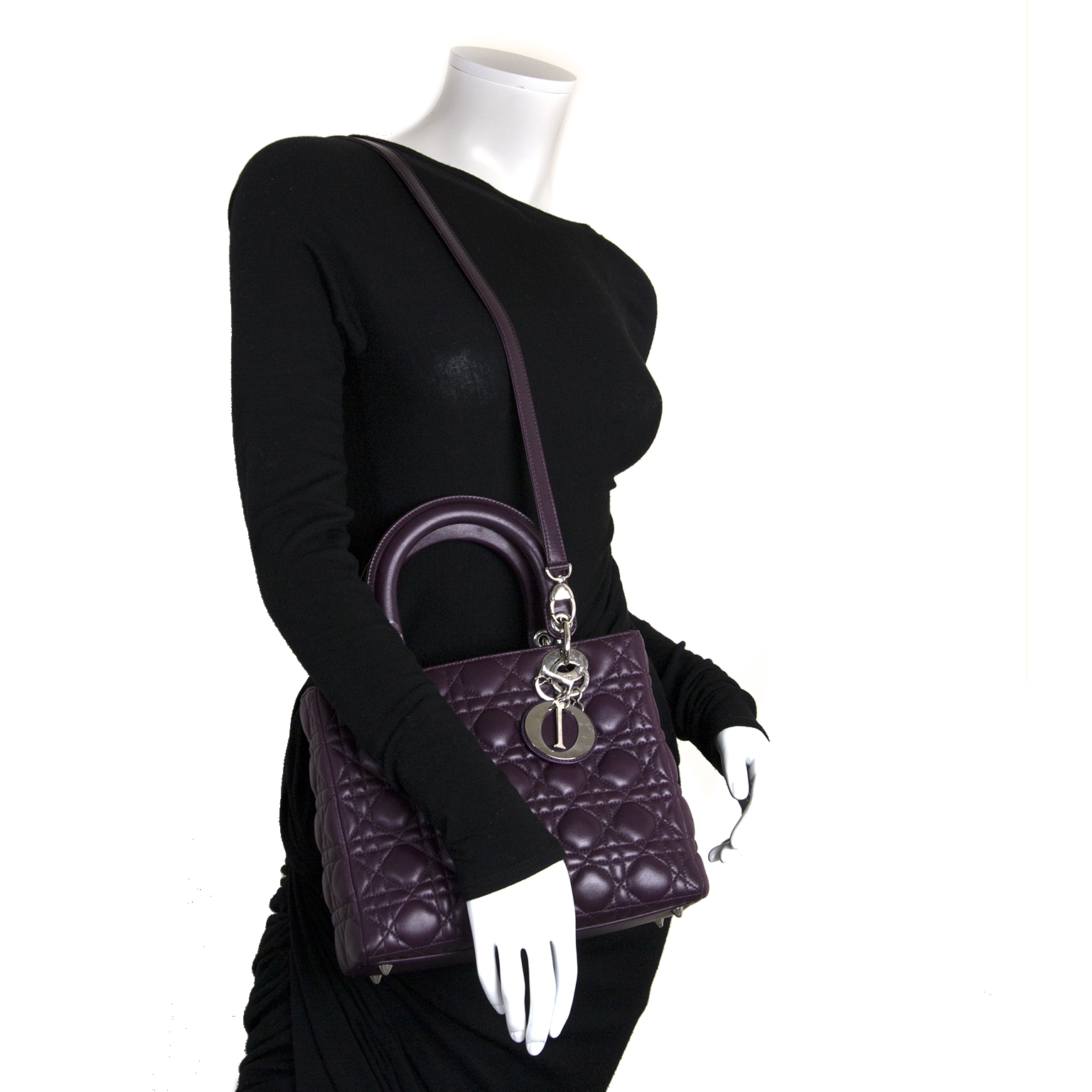 christian dior lady dior purple lambskin handbag now for sale at labellov vintage fashion webshop belgium