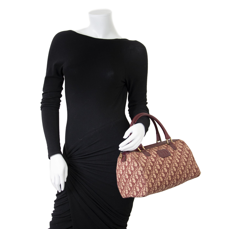 Dior Monogram Bordeaux Boston Bag now for sale at labellov vintage fashion webshop belgium