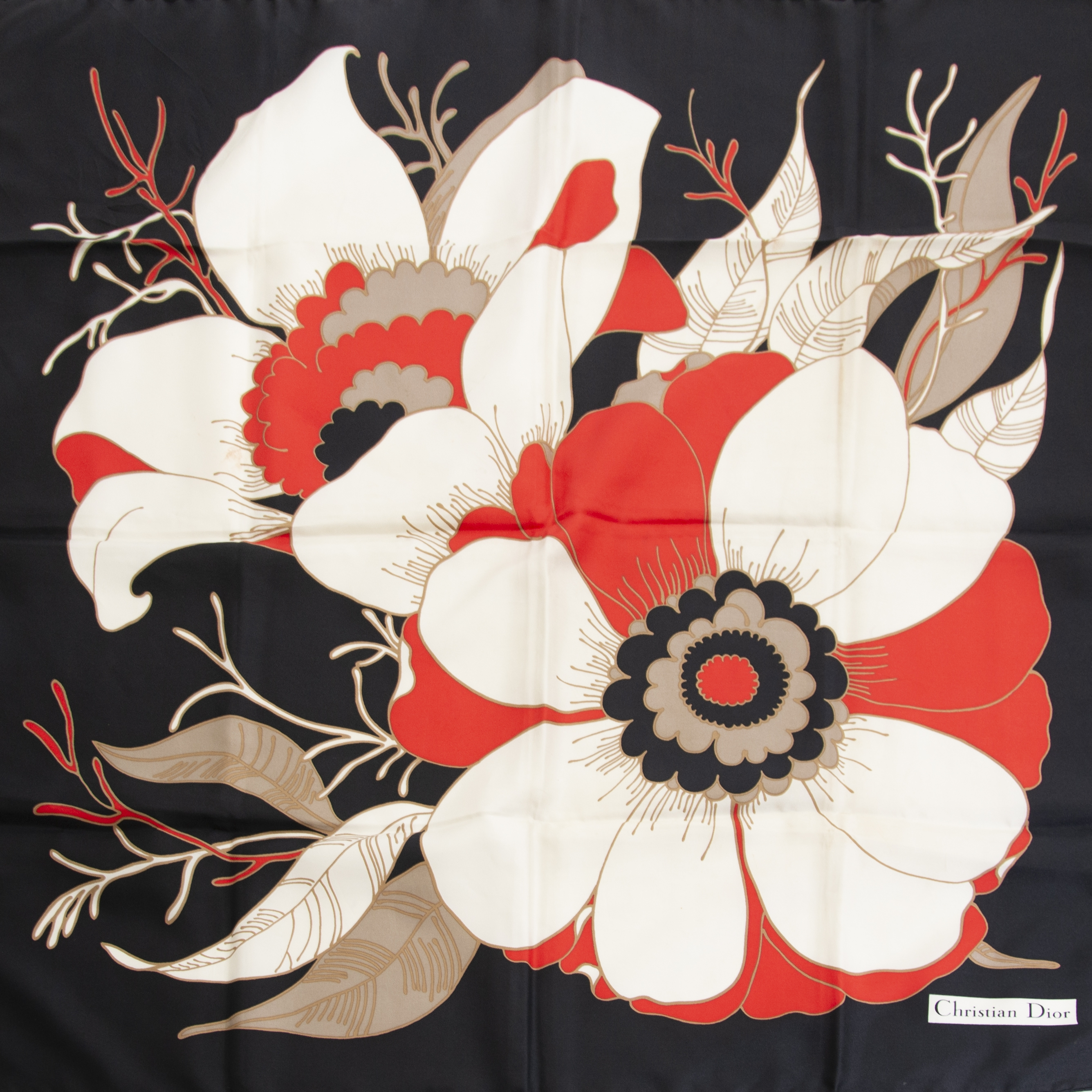 Buy and sell your 100% authentic Christian Dior Black Flower Silk Scarf  for the best price at Labellov